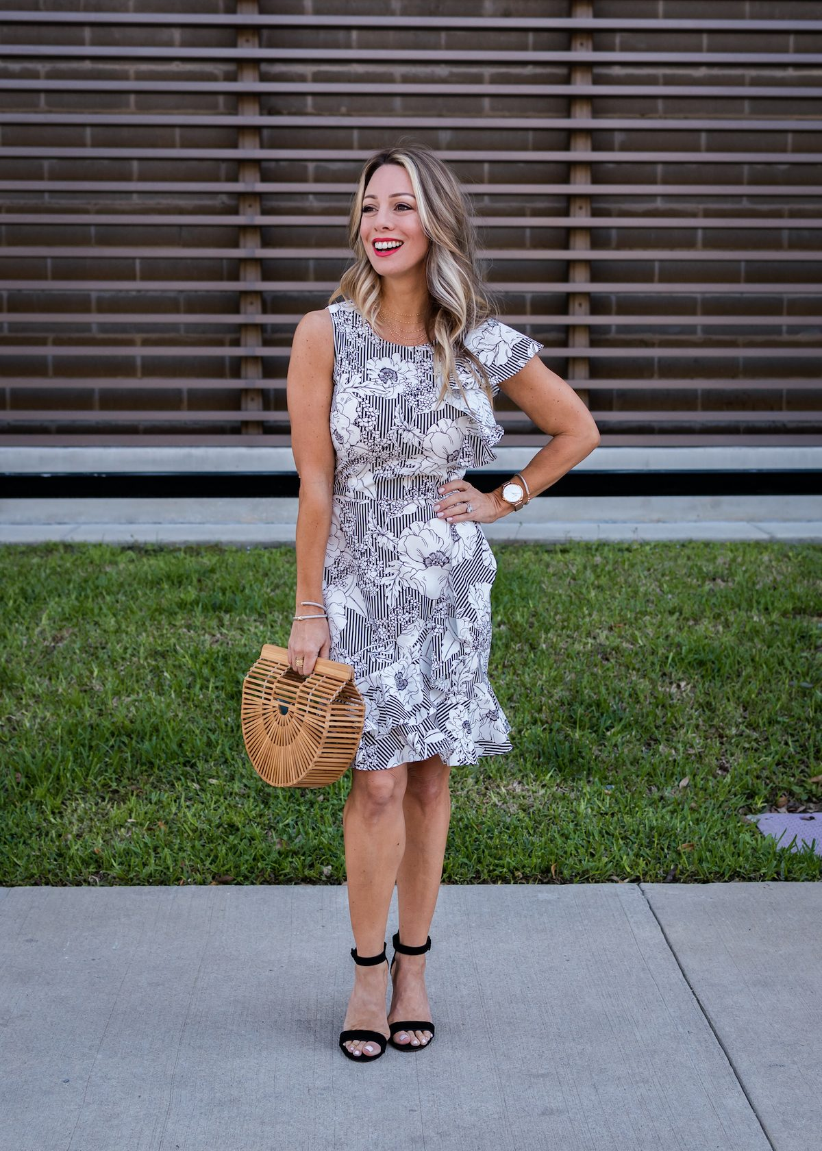 Stripe & Floral Ruffle Dress