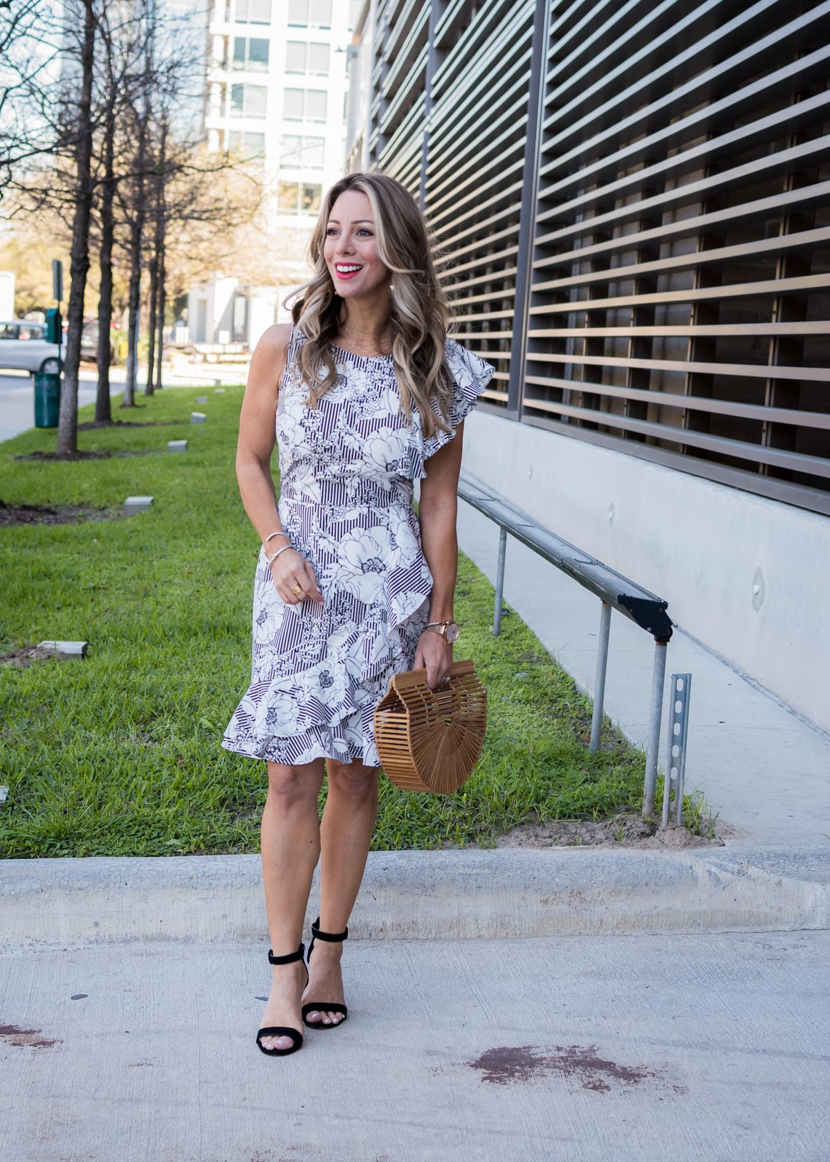 Stripe and floral ruffle dress-1