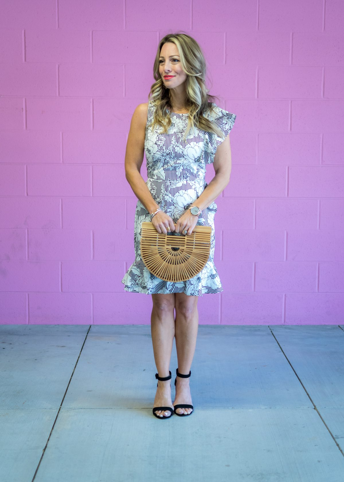Stripe and floral ruffle dress-1-2