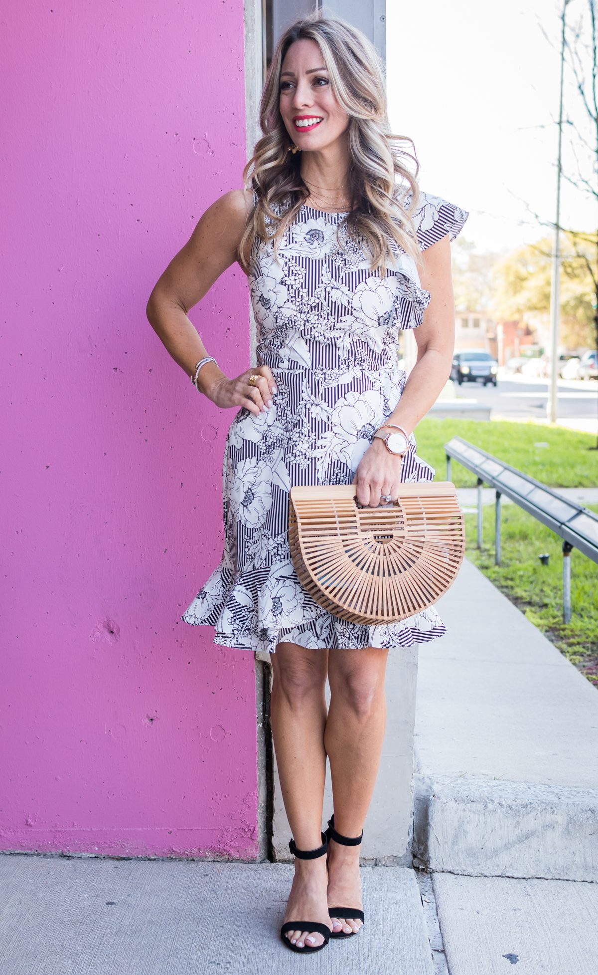 Stripe and floral ruffle dress-1-3