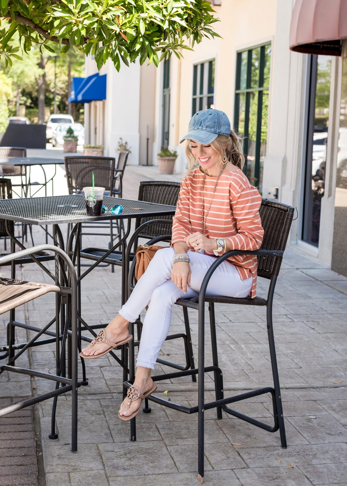 Weekend Outfit with white jeans and striped top