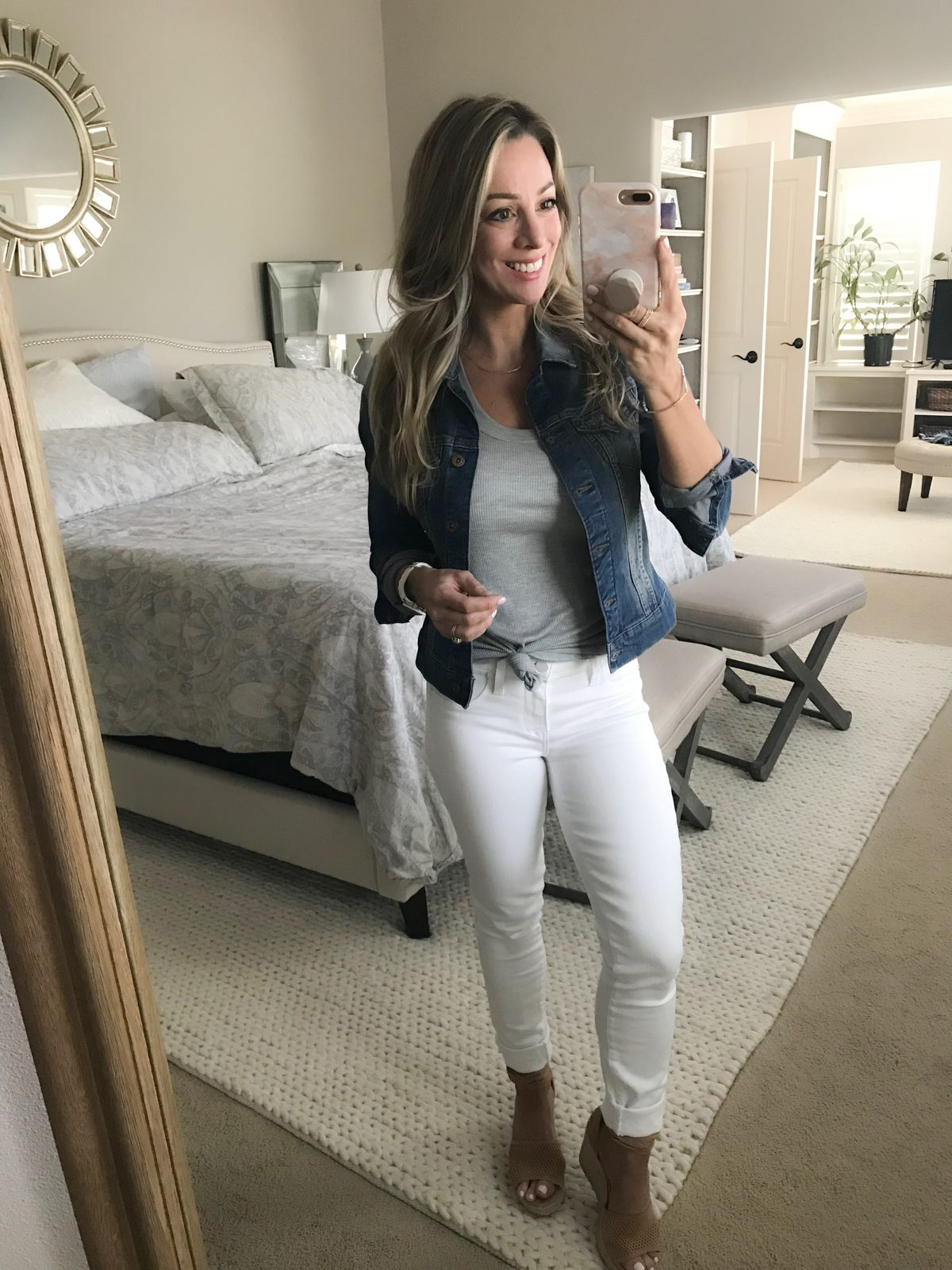White jeans with jean jacket-1