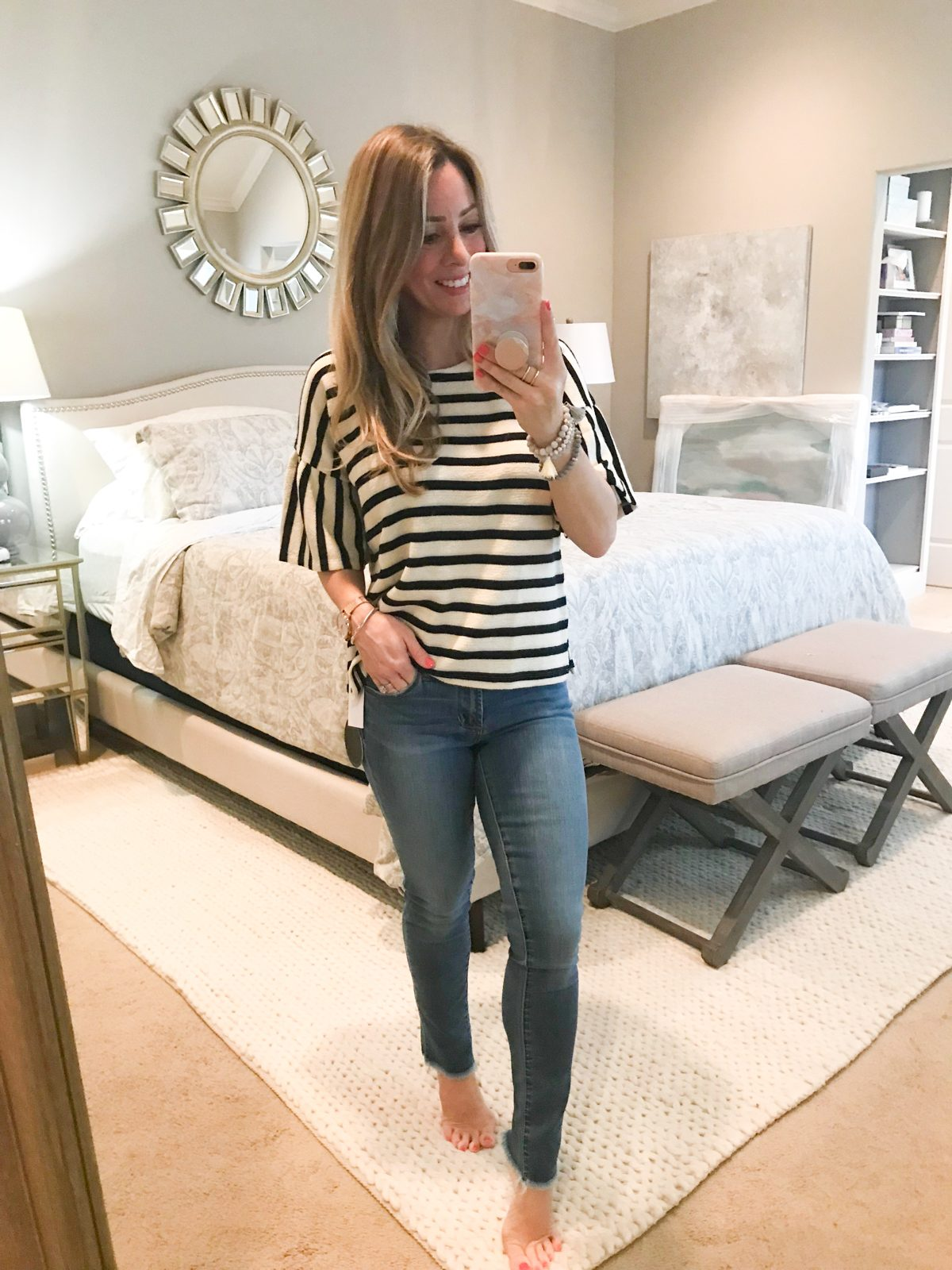crop skinny jeans and striped top-1