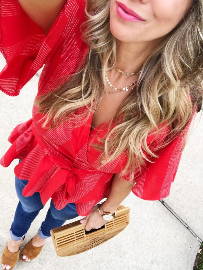 Spring Outfit - red wrap top and skinny jeans