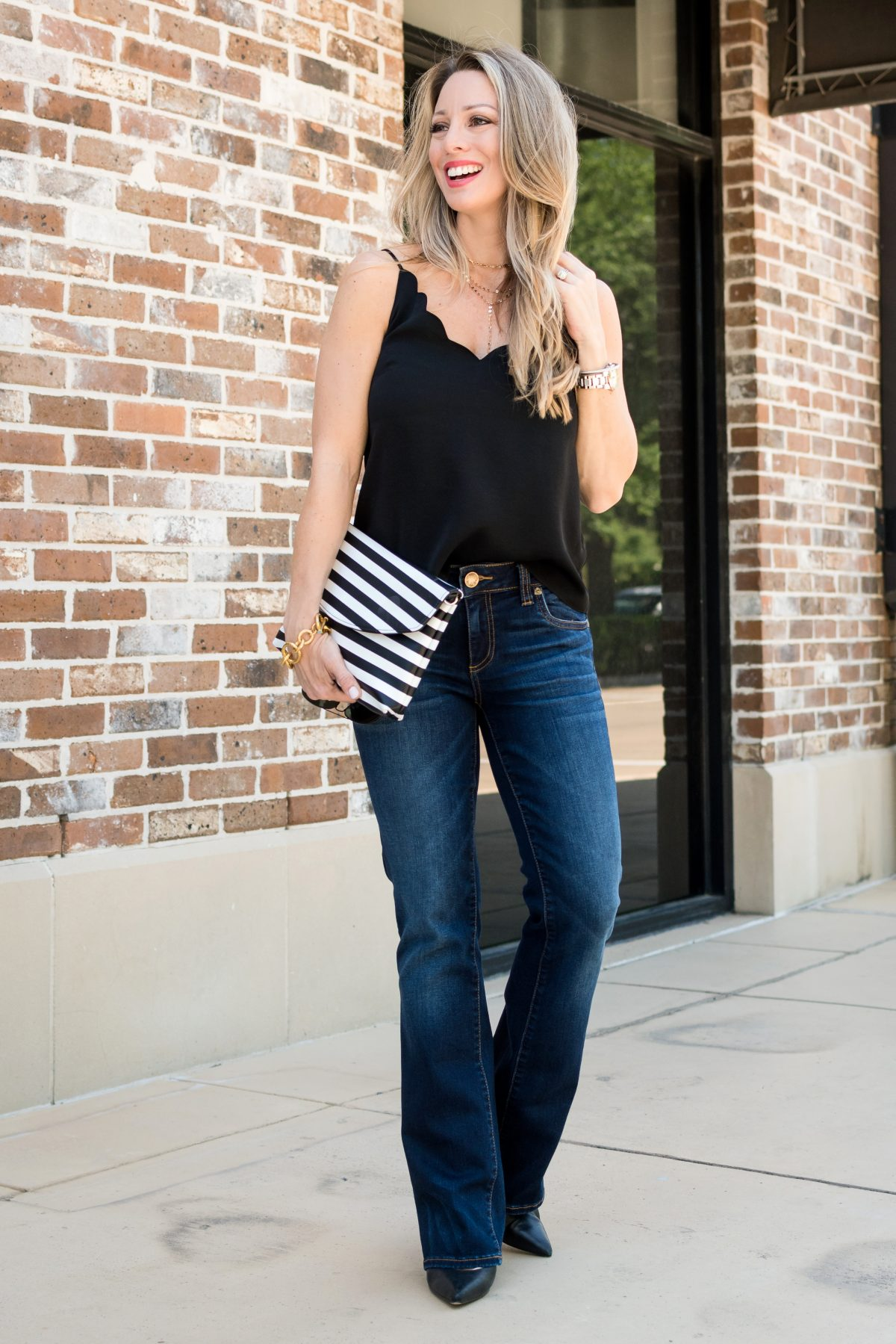 Black scallop camisole bootcut jeans