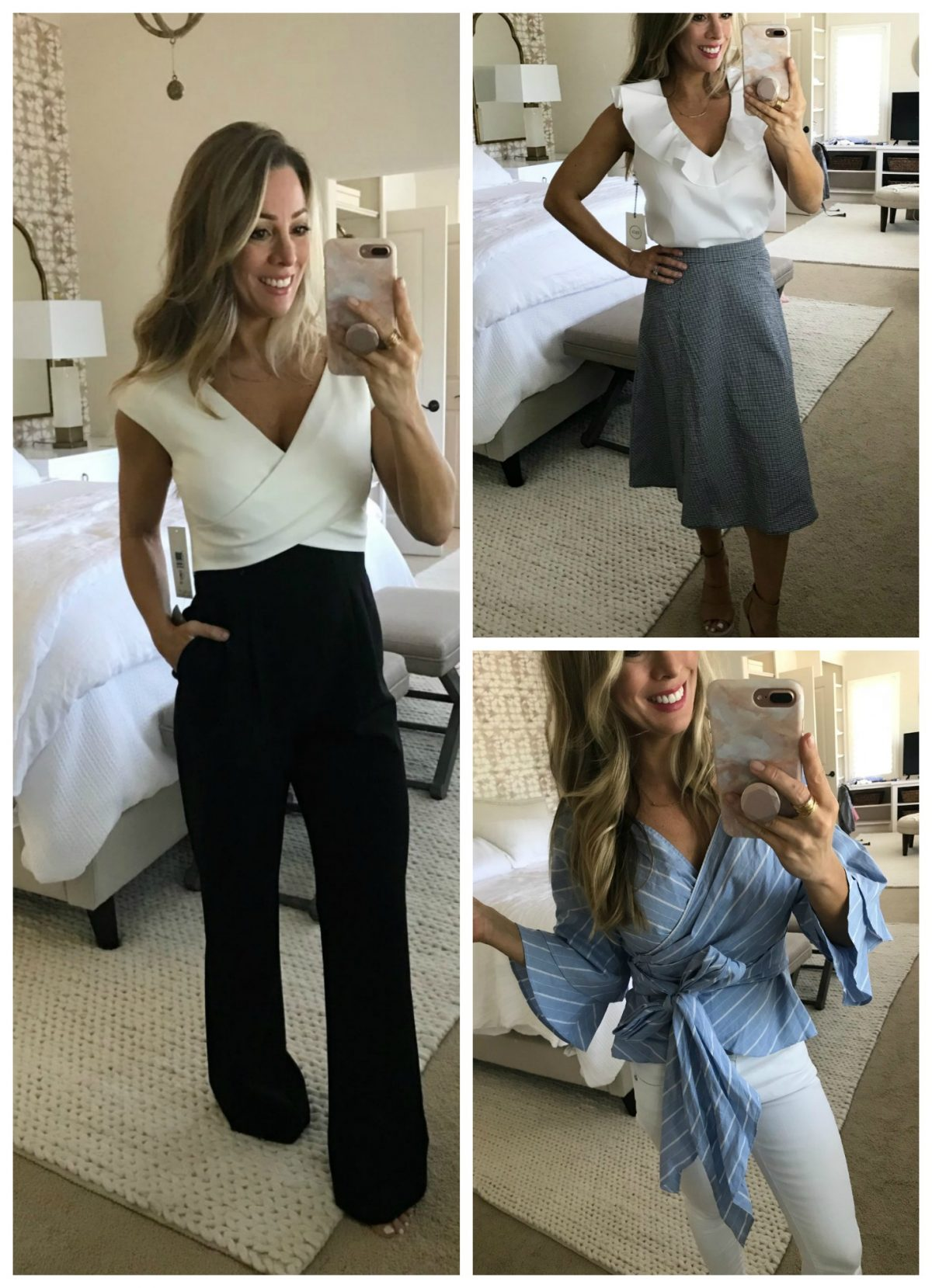 Dressing Room Jumpsuit, Gingham Skirt, Wrap Top