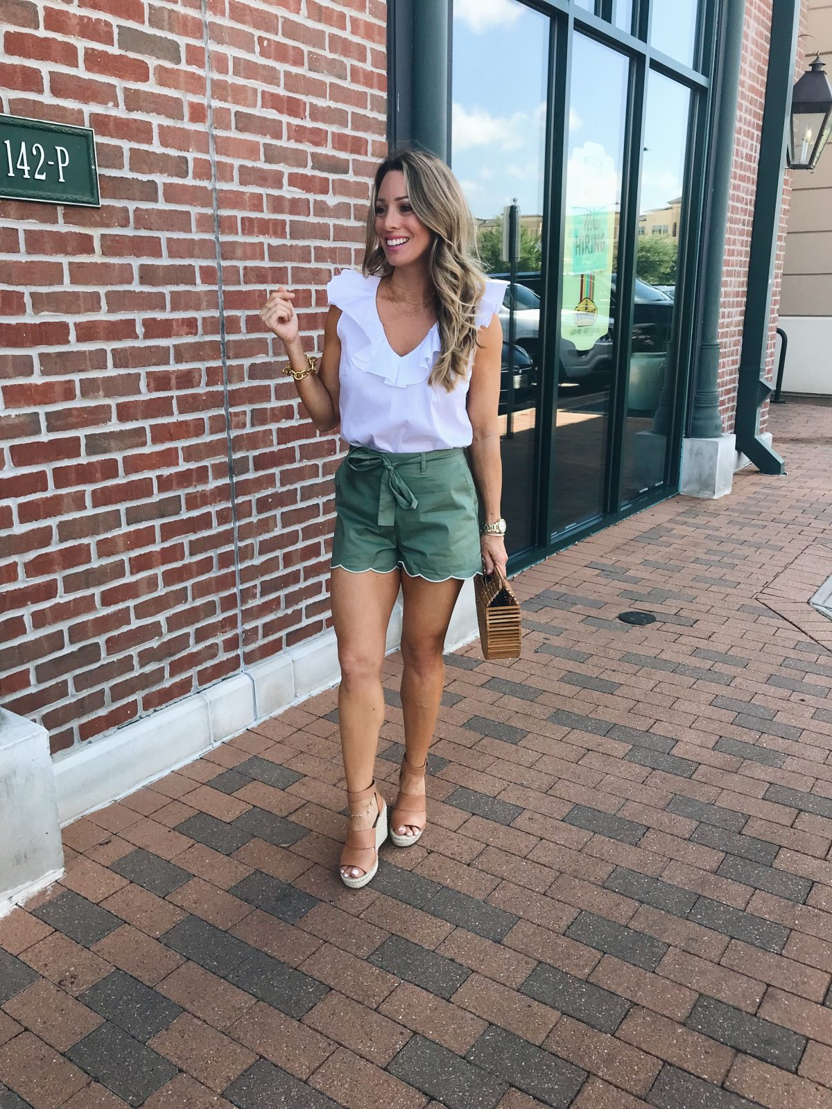 Green scallop shorts and white ruffled tank w wedges