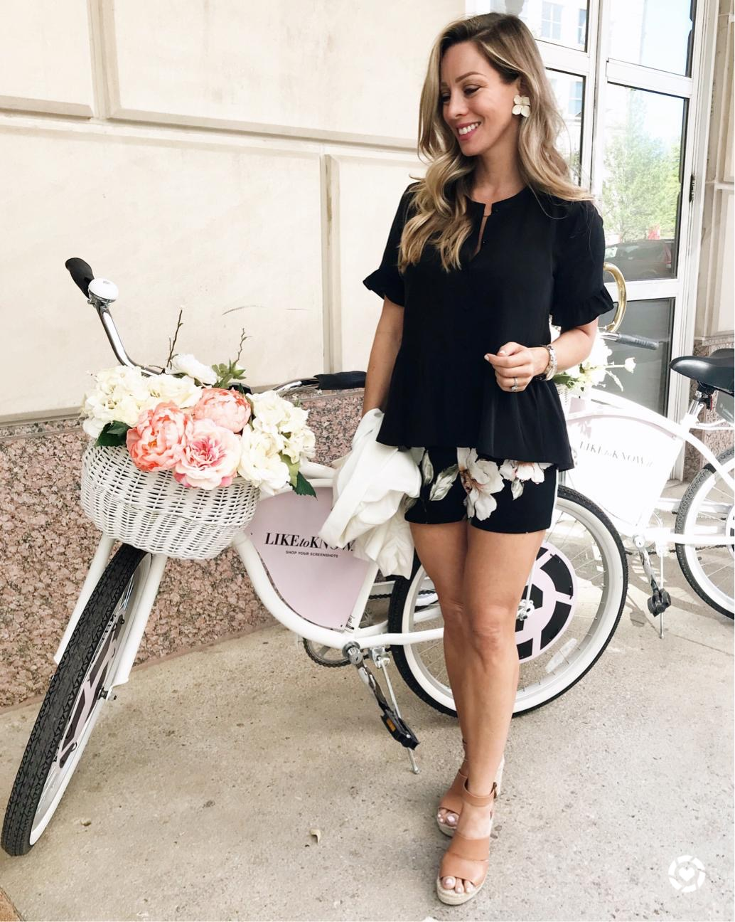 floral shorts and black peplum top