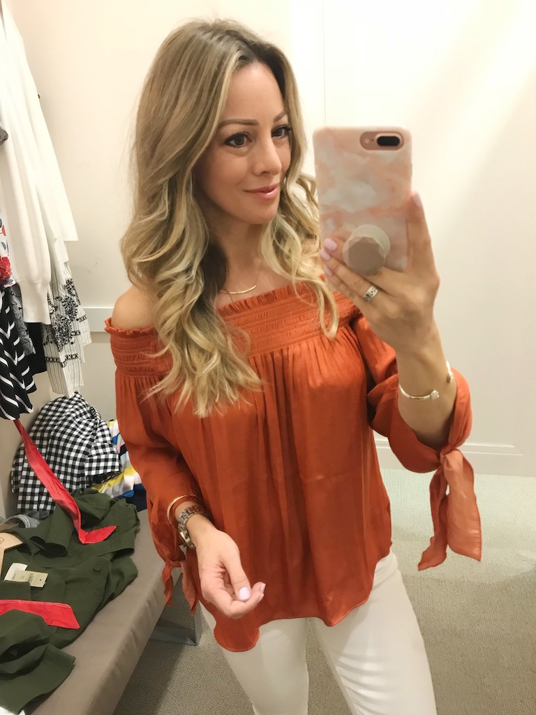 LOFT rust off shoulder top