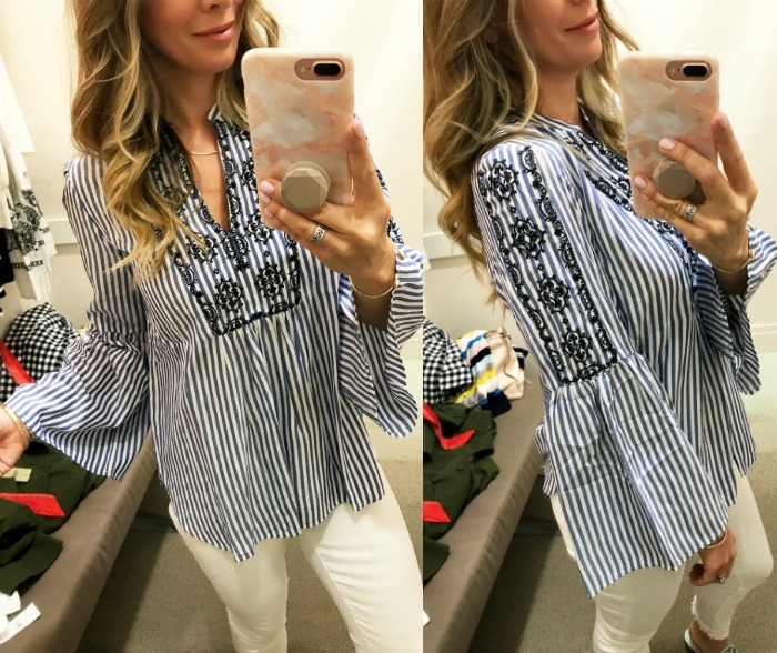 Loft striped embroidered tunic