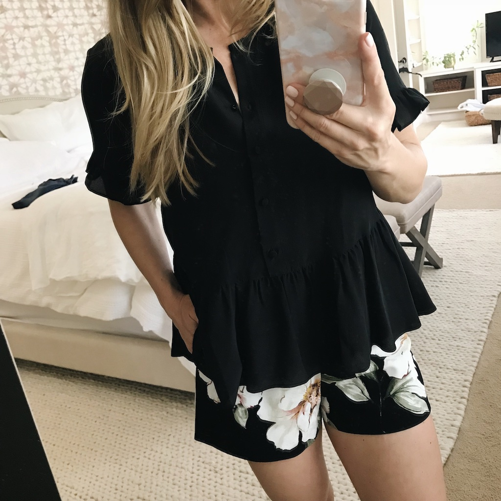 Madewell peplum top and floral shorts