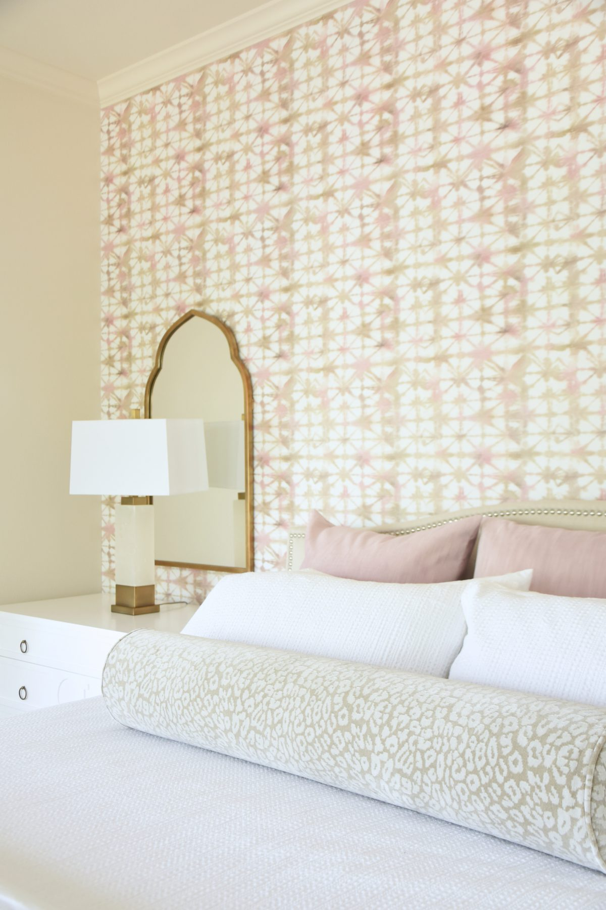 Master Bedroom with Anthropologie Logan wallpaper