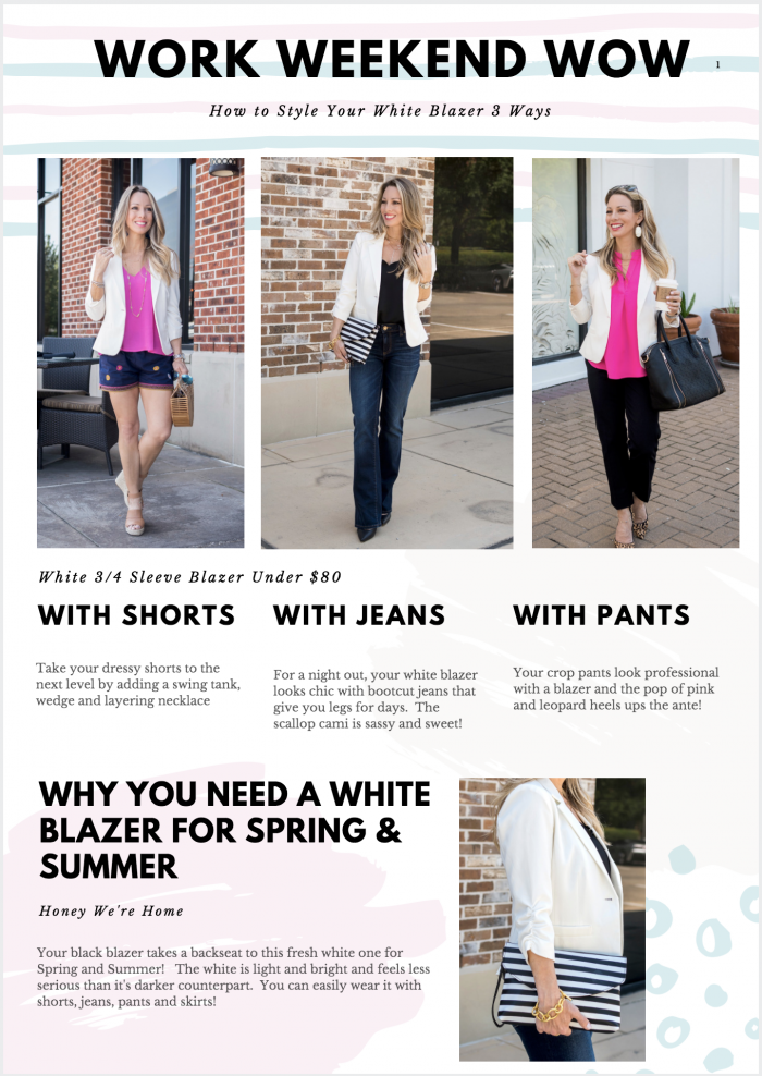 How to Style Your White Blazer 3 Ways | Honey We're Home