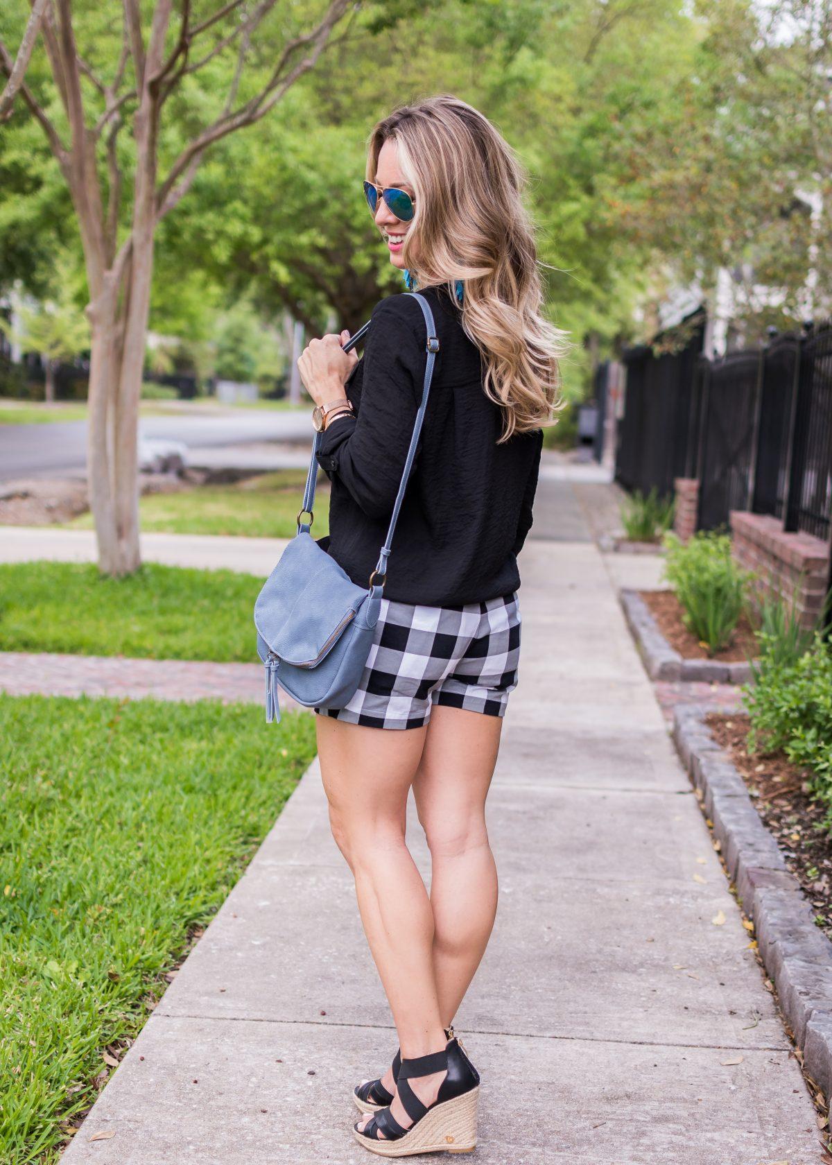 Spring fashion -black and white gingham shorts 10