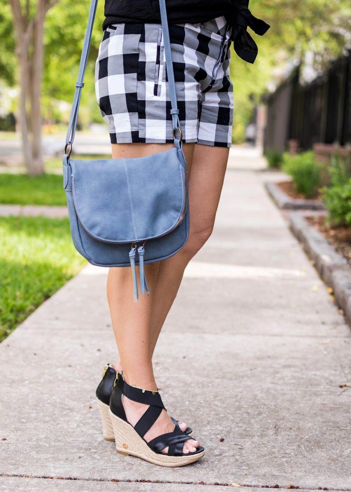 Spring fashion -black and white gingham shorts 6
