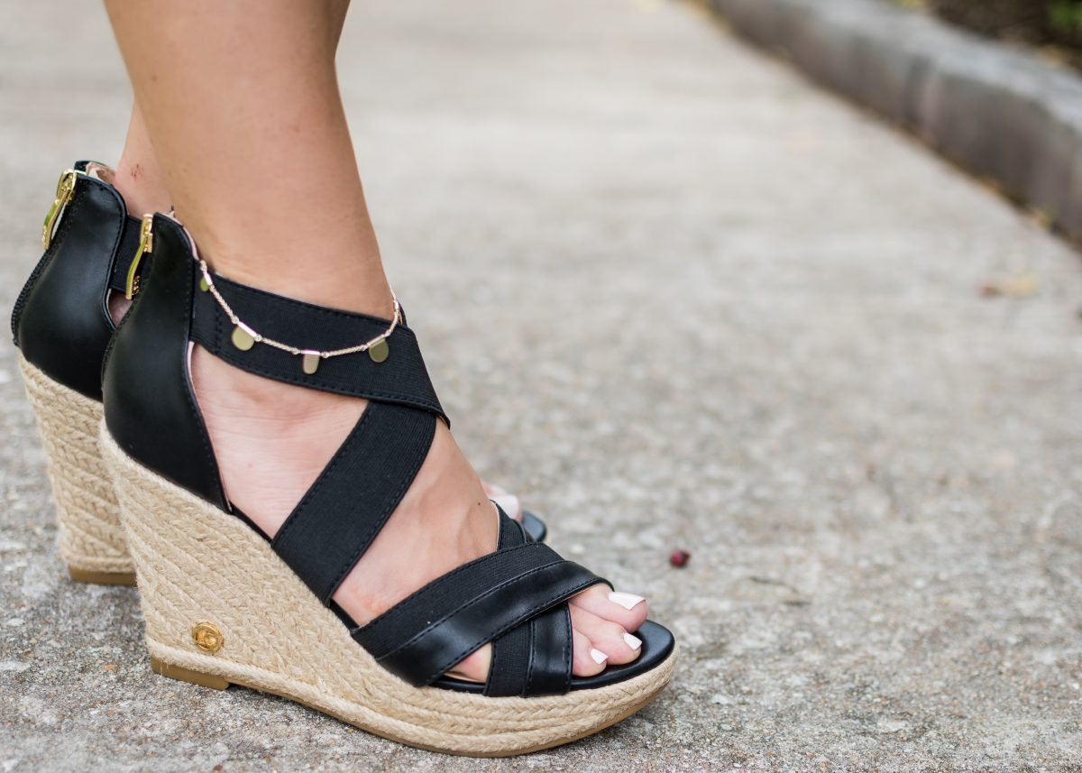 Spring fashion -black wedges
