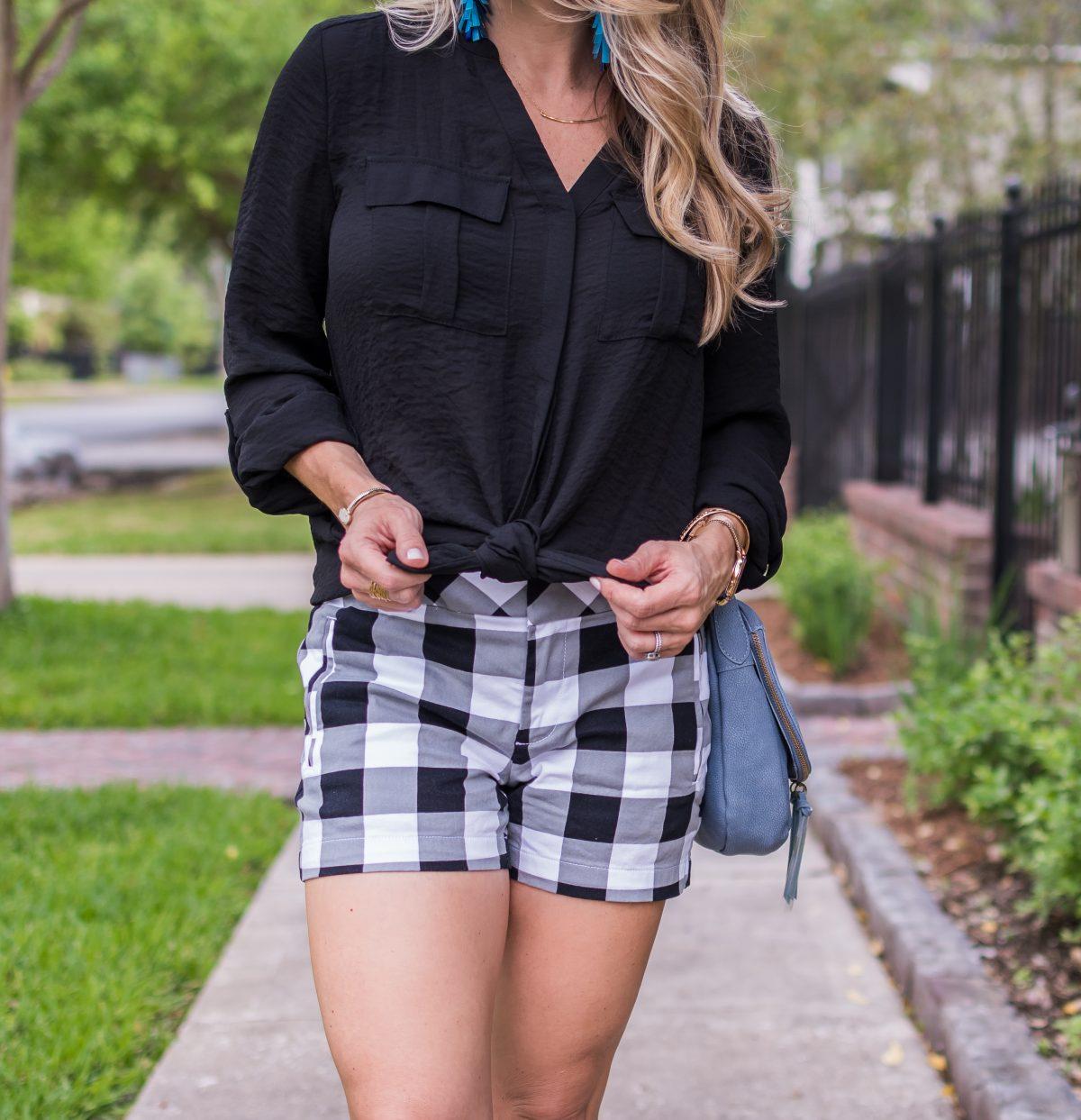 Spring fashion -black and white gingham shorts 9