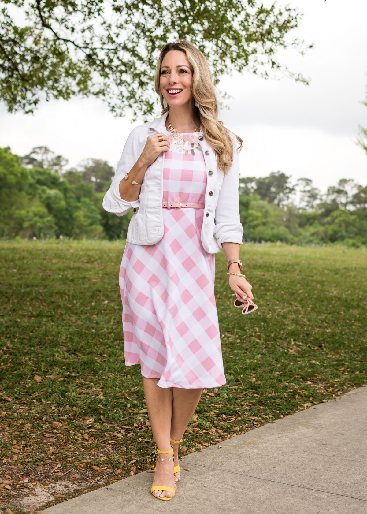 Spring fashion - pink and white gingham dress 11
