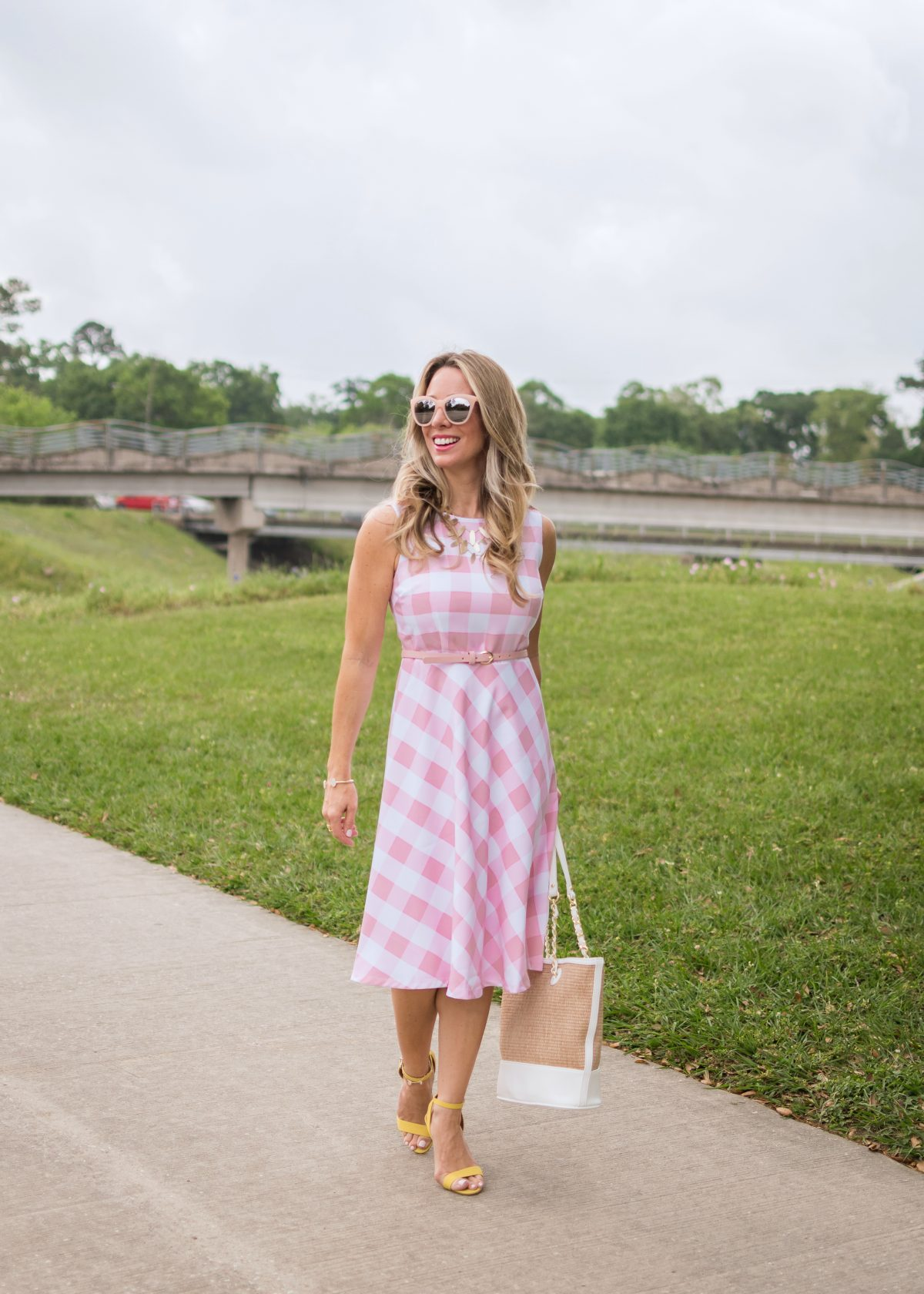 Spring fashion - pink and white gingham dress 4