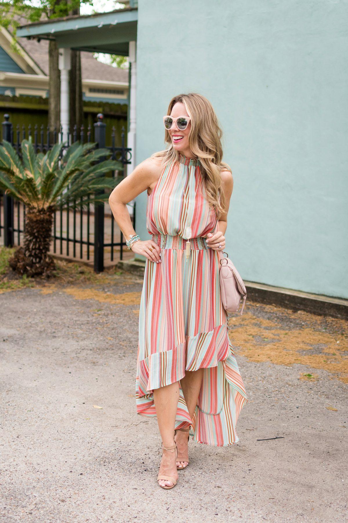 Spring fashion -striped halter dress 1