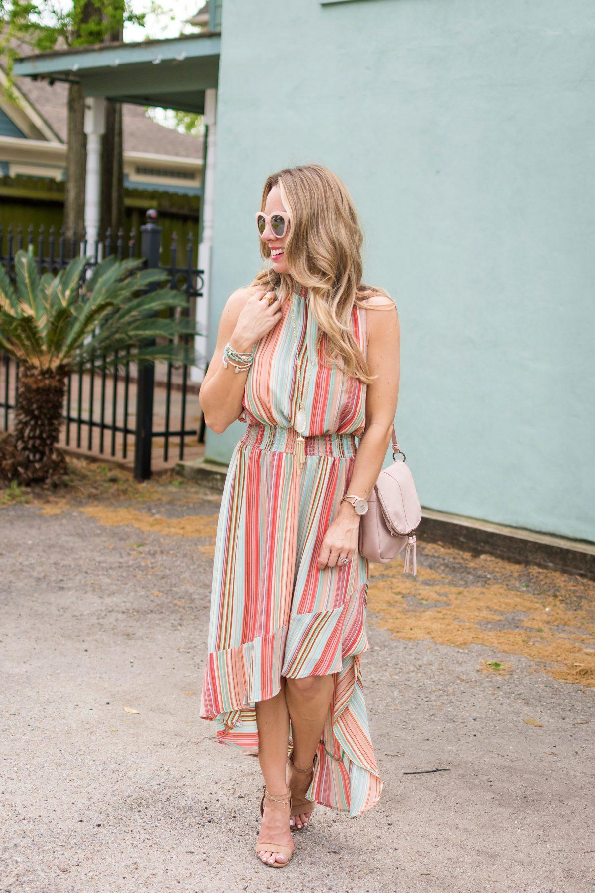 Spring fashion -striped halter dress 2
