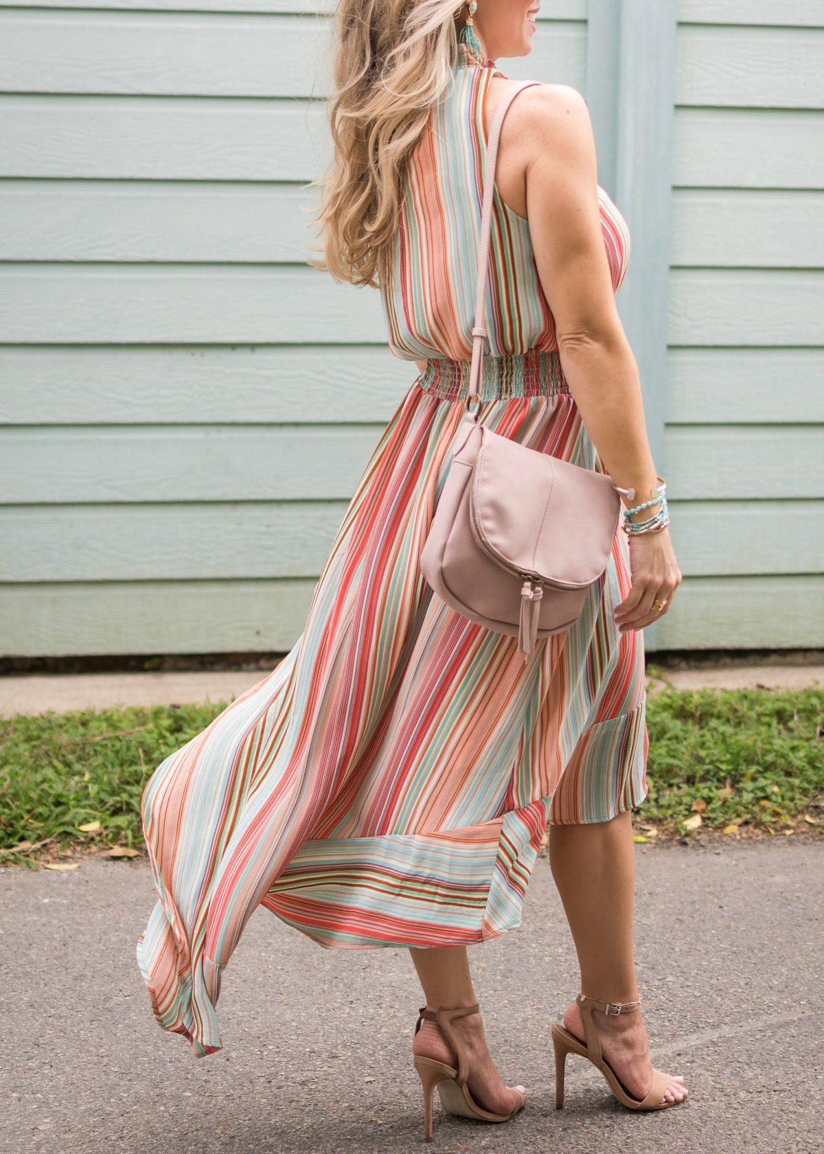 Spring fashion -striped halter dress 5