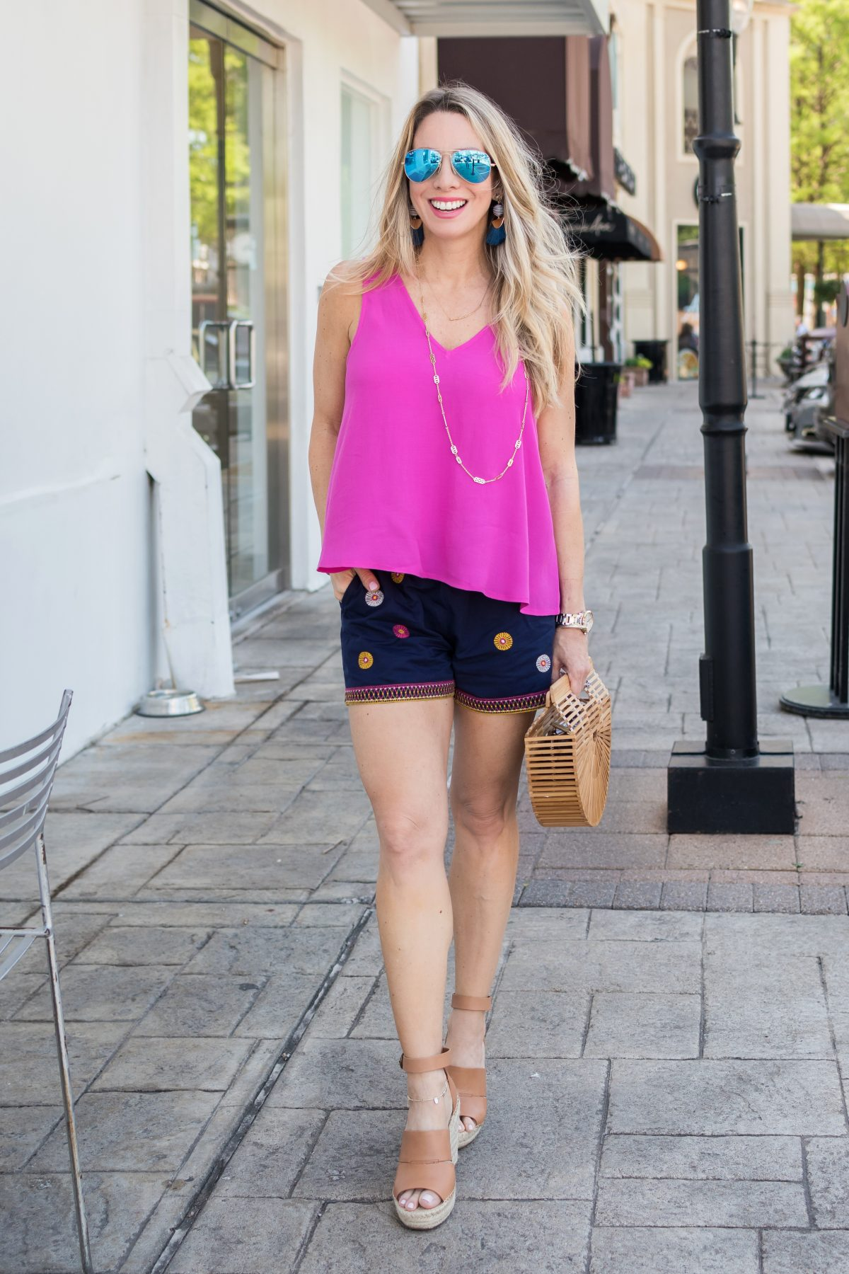 Spring outfit - pink top with embroidered shorts and wedges