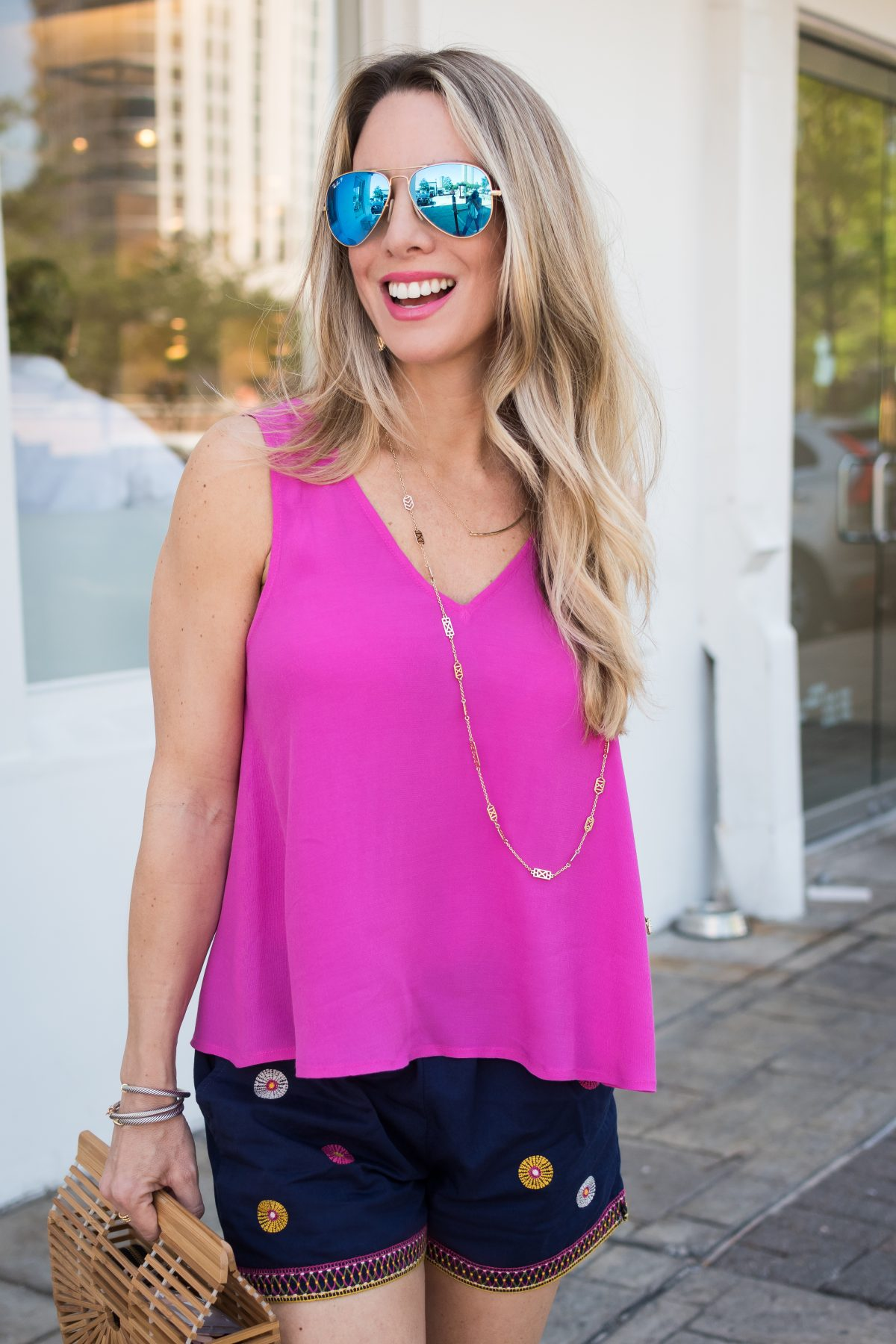 Spring outfit pink swing tank and shorts