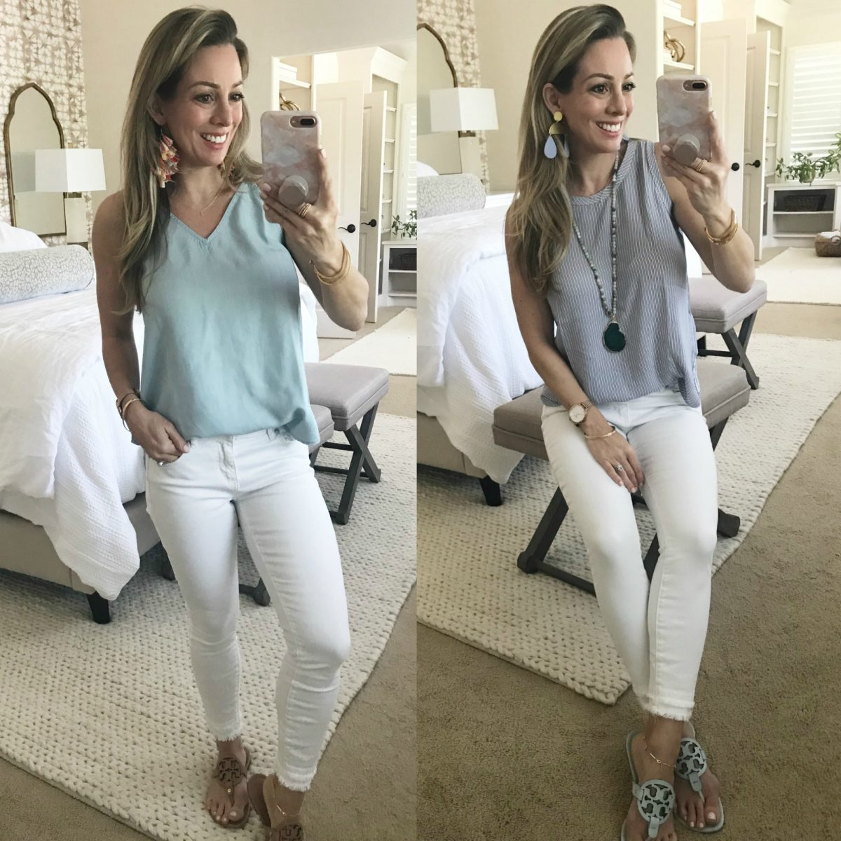 Spring outfit white jeans with tank and tory burch miller sandals