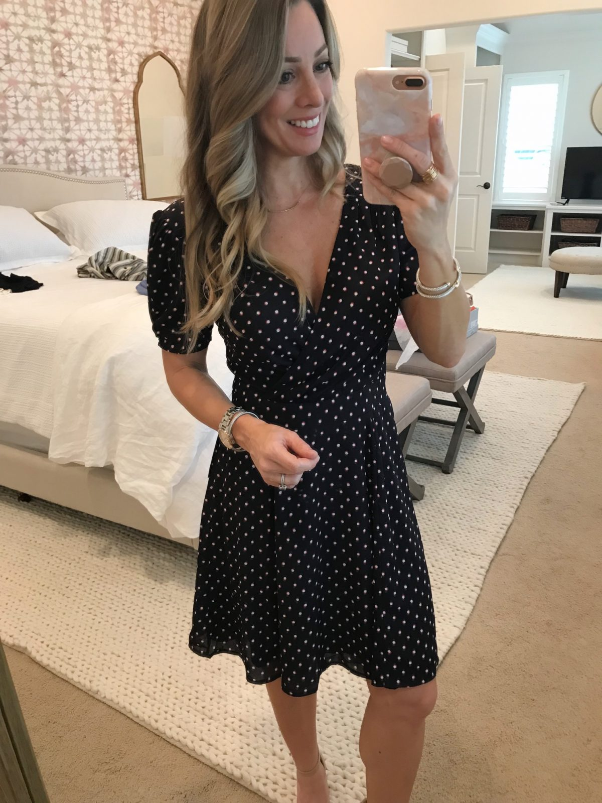 Trunk Club- navy and fascia fit and flare dress