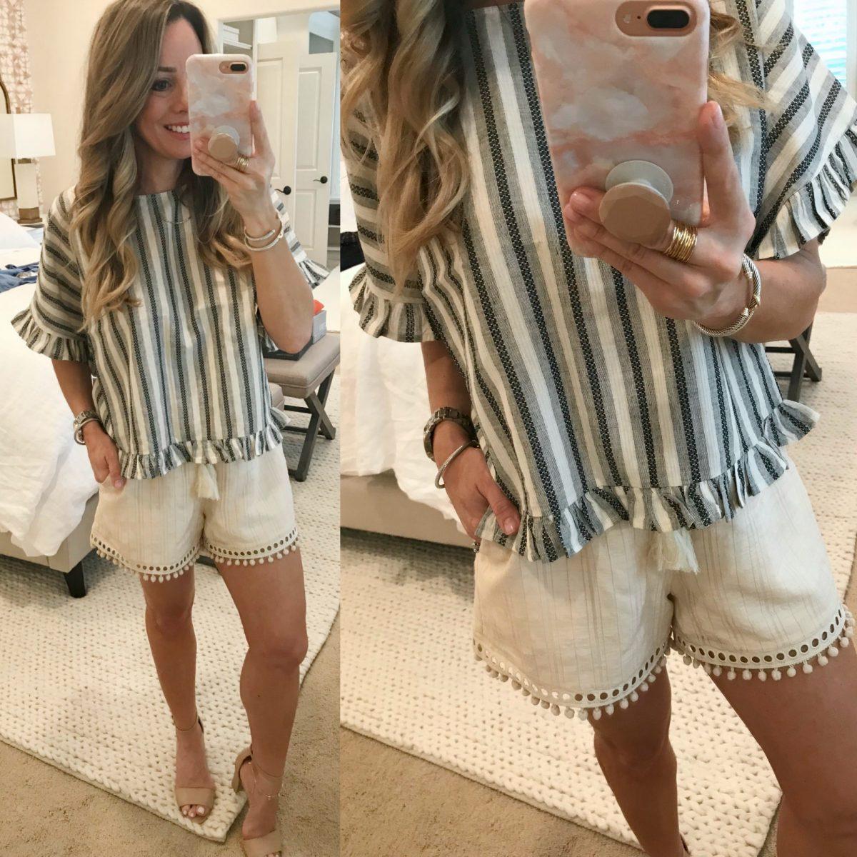 Trunk Club- pom pom shorts and striped top