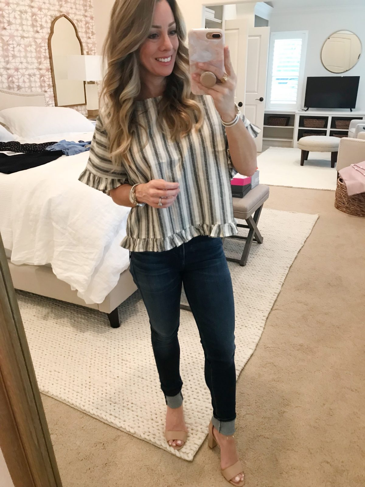 Trunk Club- striped ruffle top and high waist jeans