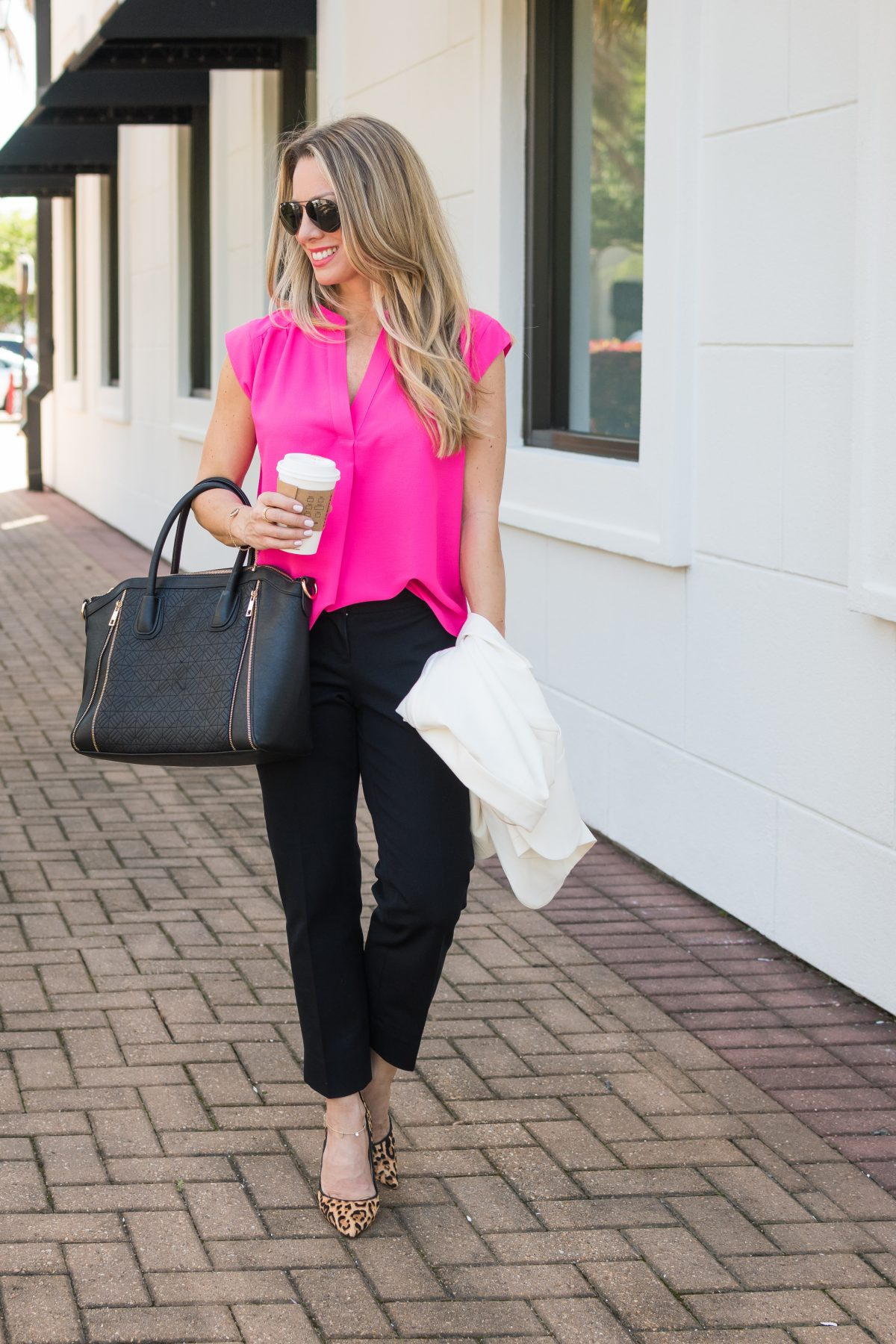 Work Outfit Black pants pink top leopard heels