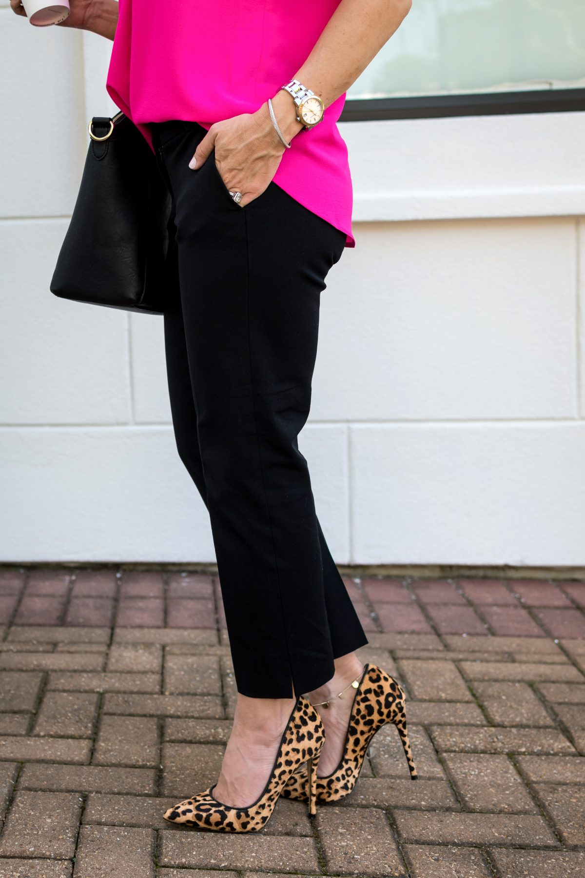 Black ankle pants and leopard heels