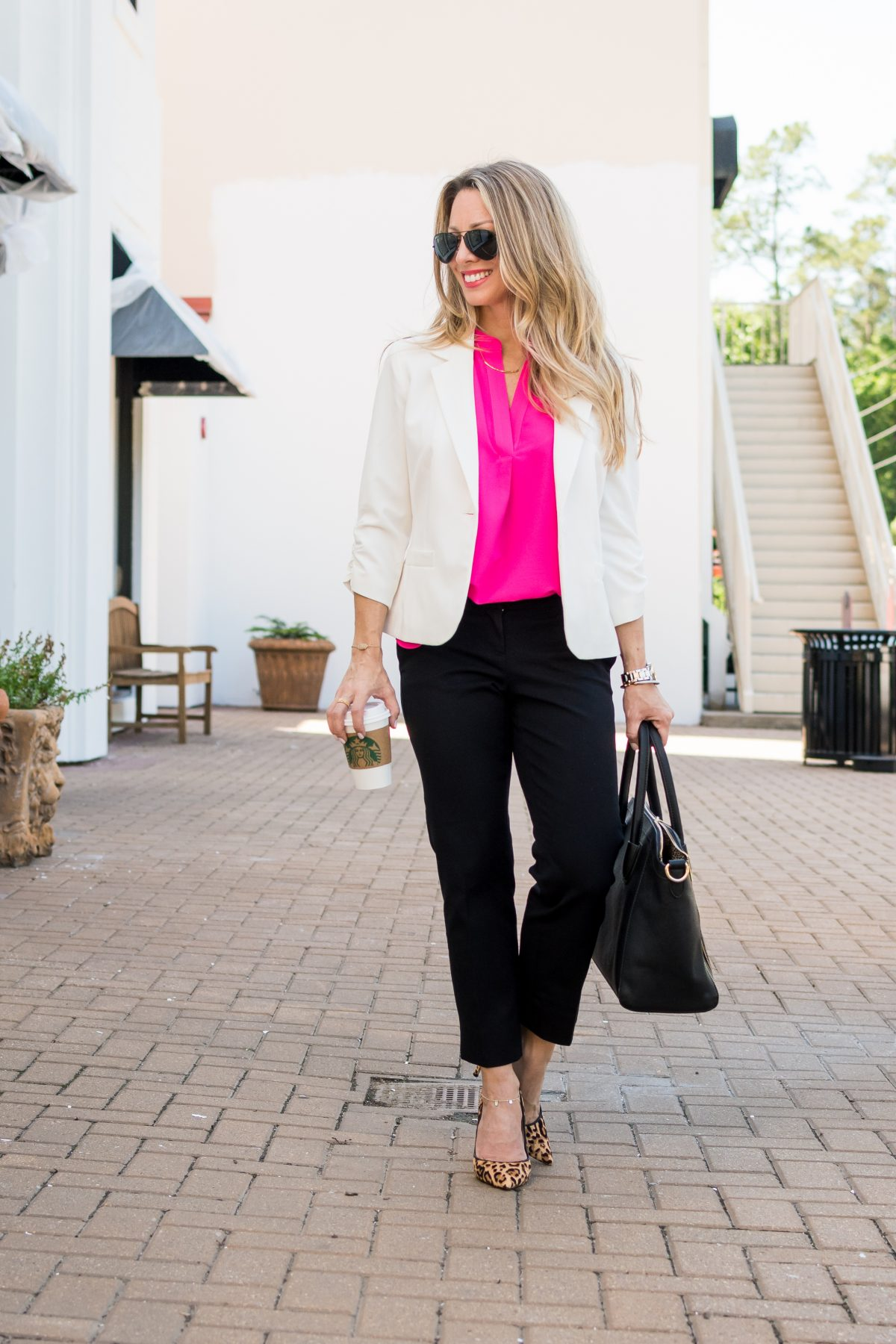Work Outfit white blazer with black pants pink top leopard heels