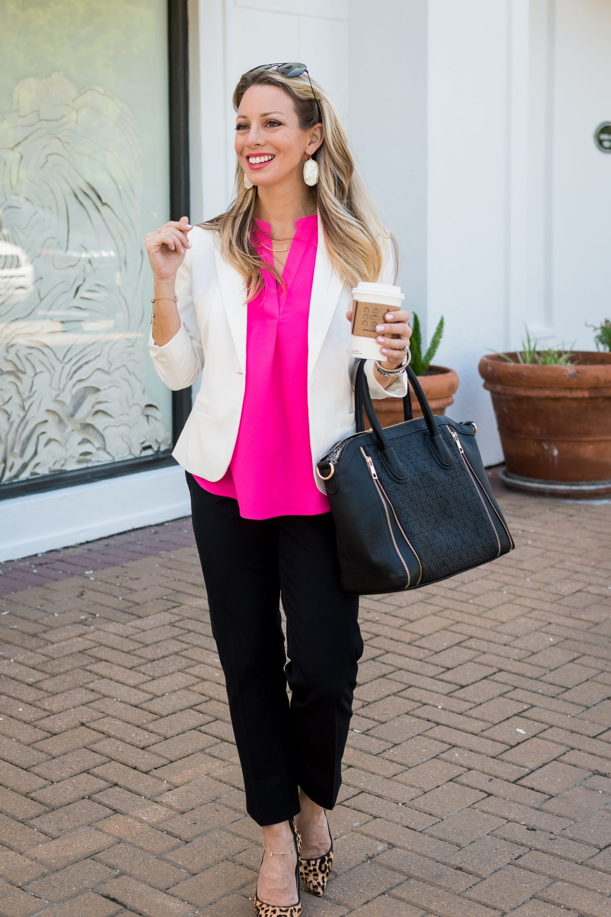 Work outfit white blazer pink top black pants and leopard heels