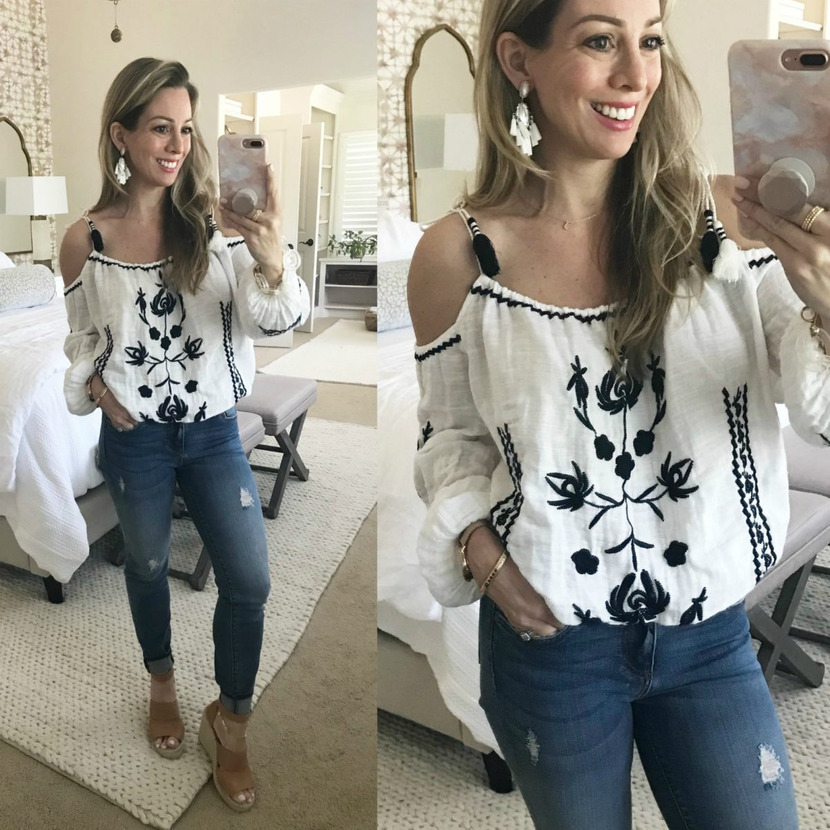 embroidered top and distressed skinny jeans with wedges