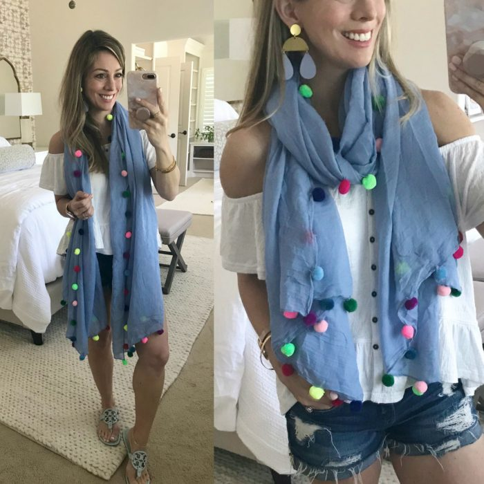 pom pom scarf two ways