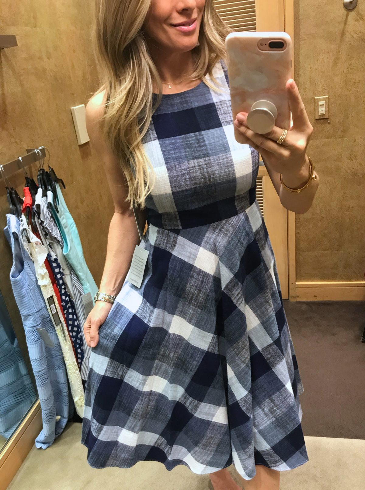 Dressing Room Fit and Review - blue check fit and flare dress