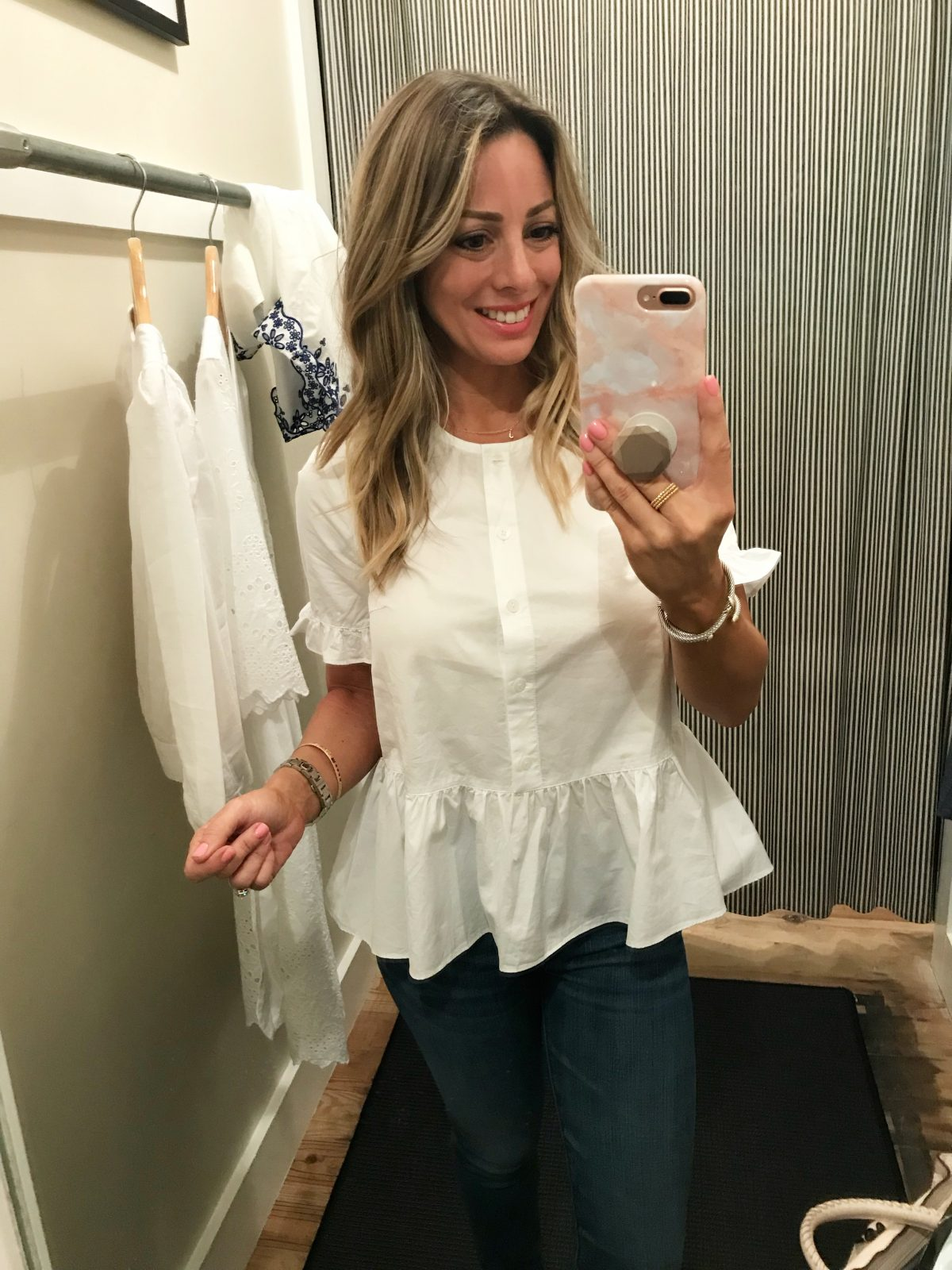 Dressing Room Fit and Review - white button down peplum top