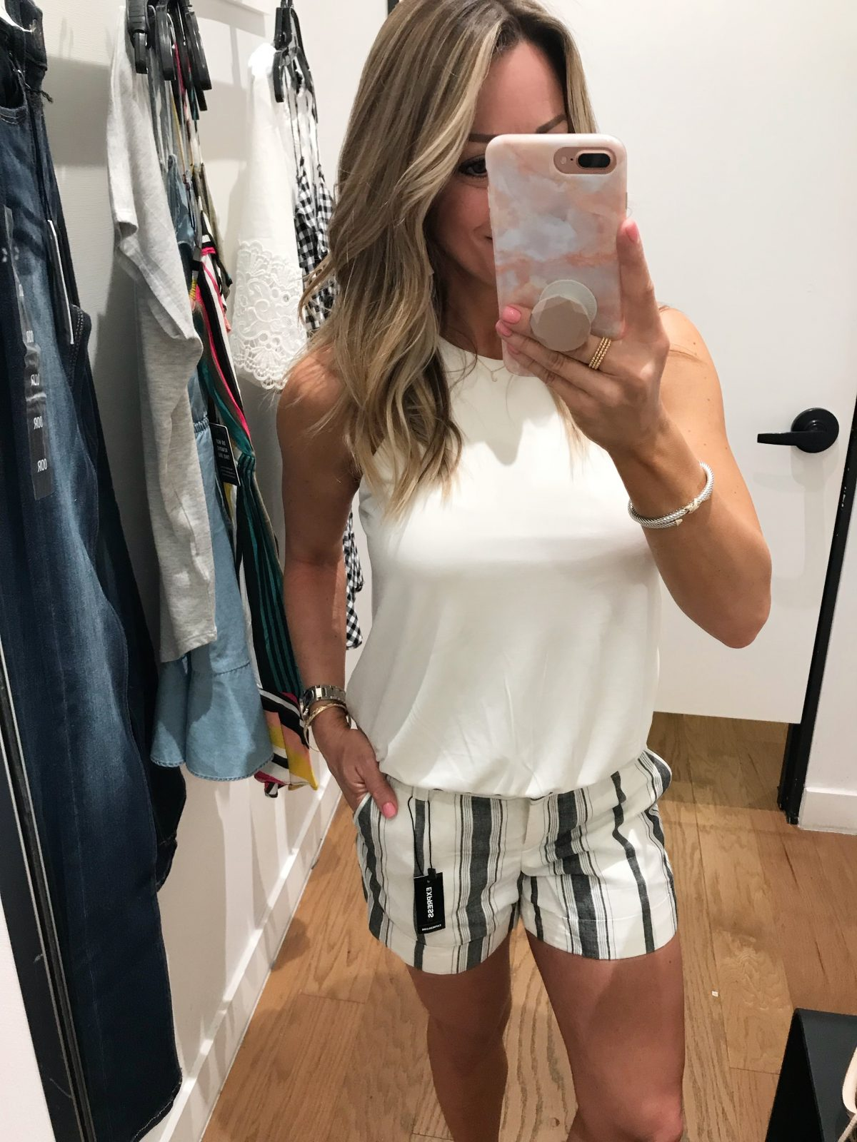 Dressing Room Fit and Review - white racerback top with 3 1/2 inch stripe shorts