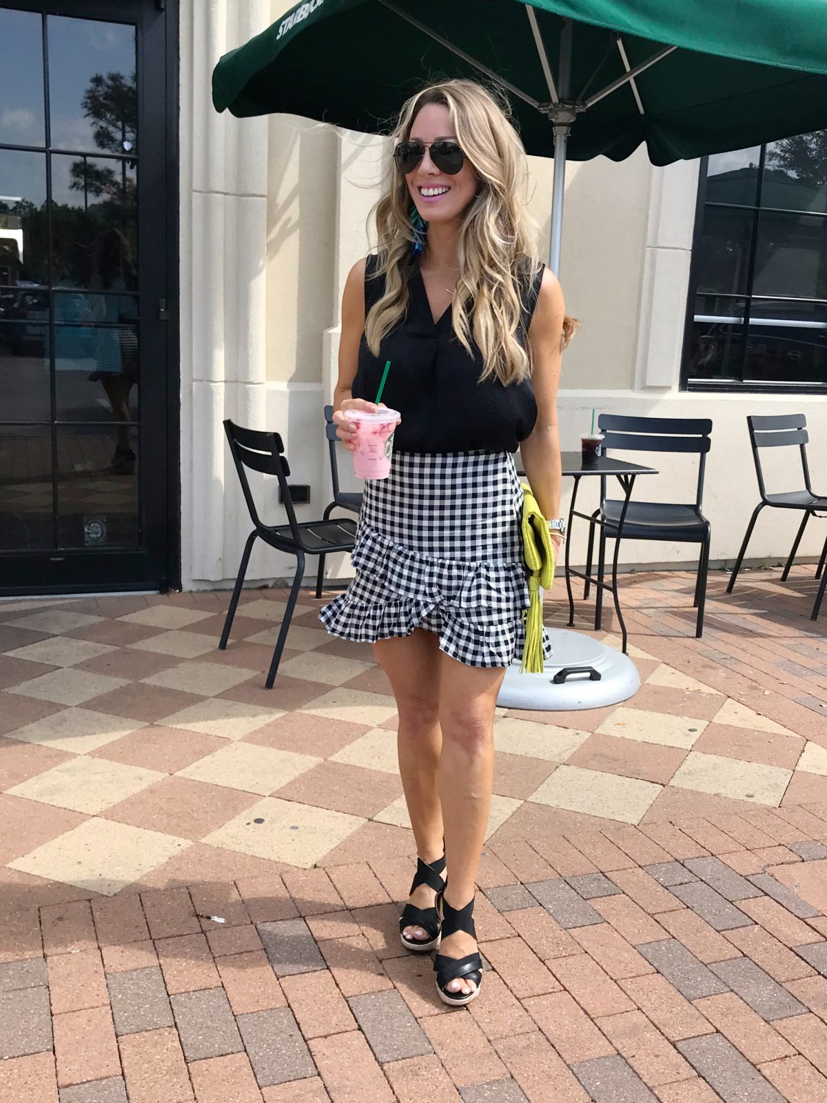 Gingham skirt with black top and wedges