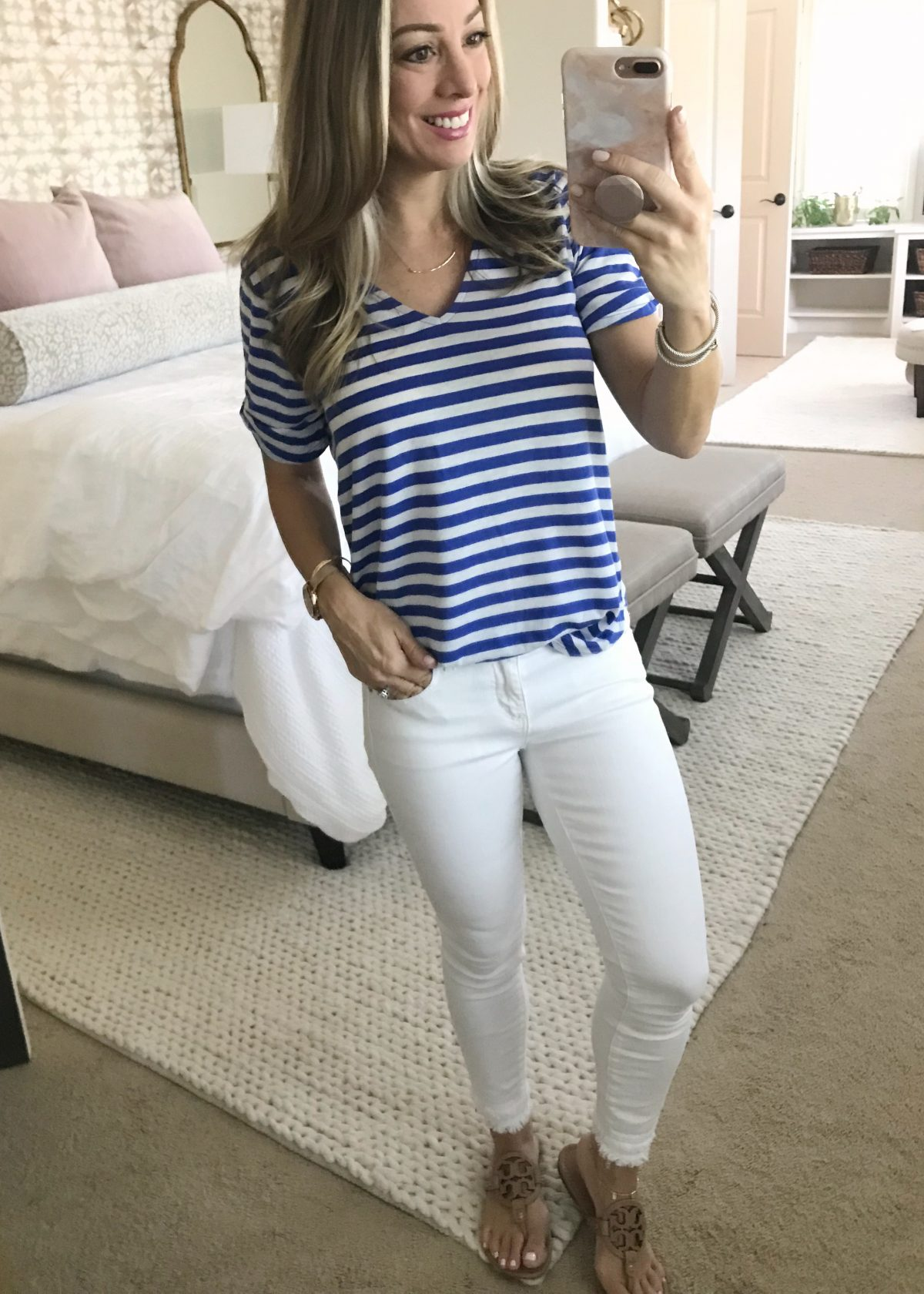 Hi Sugarplum x Gibson blue striped shirt white jeans an d Tory Burch Miller sandals