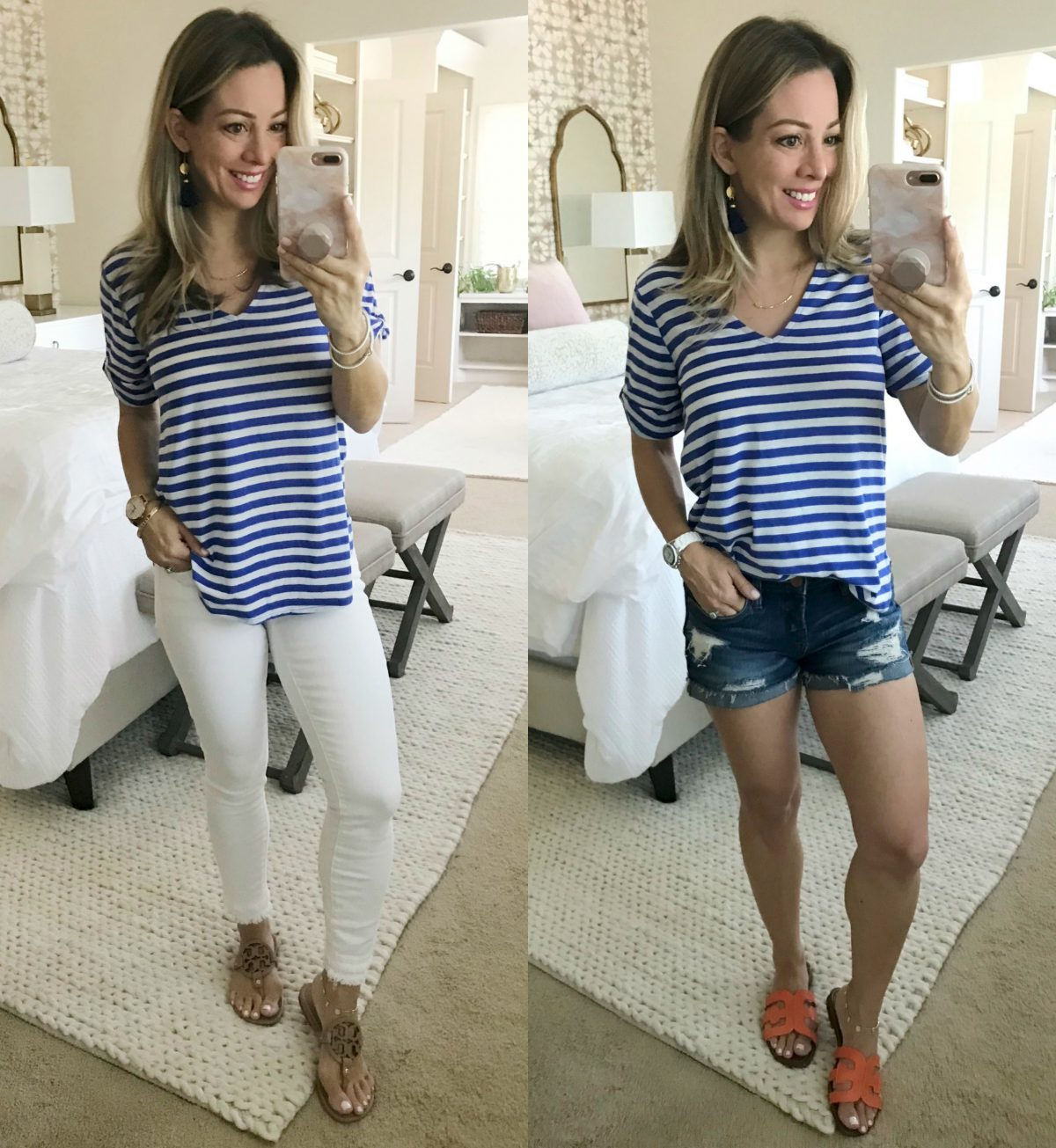 Hi Sugarplum x Gibson blue striped tee with white jeans and jean shorts