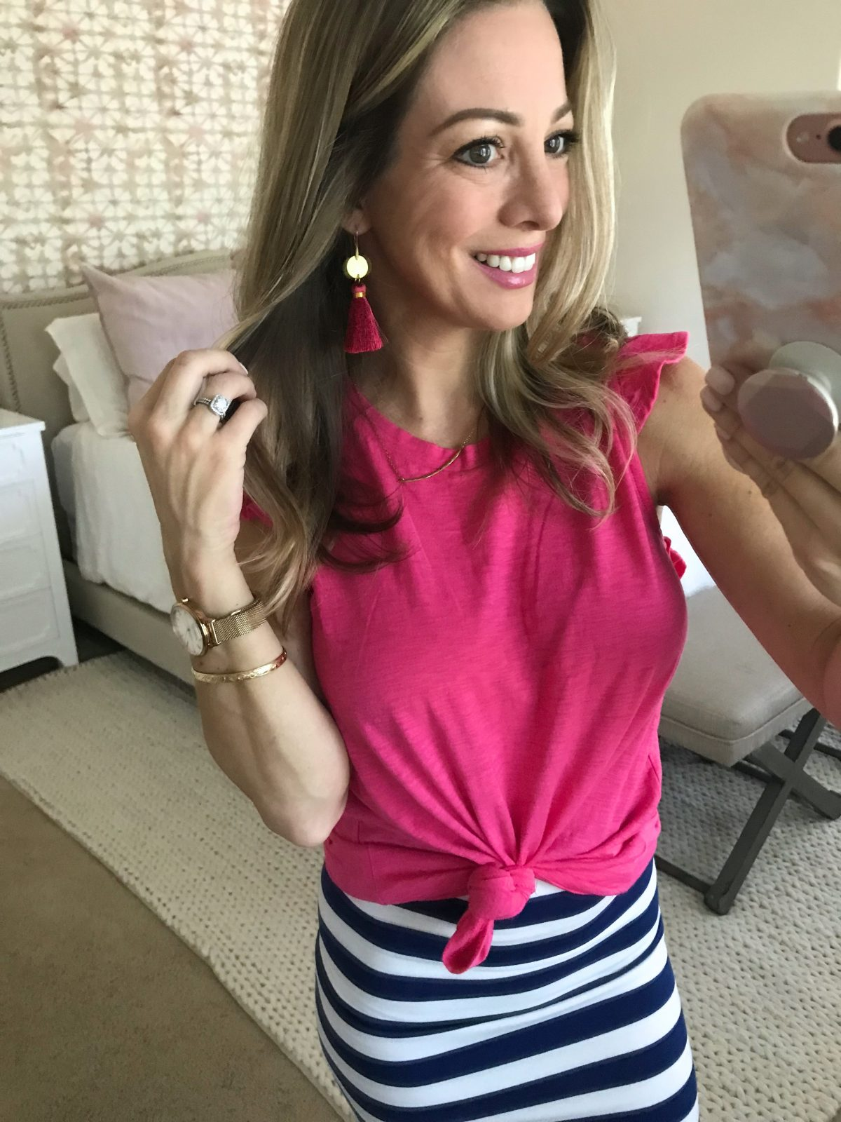 Hi Sugarplum x Gibson pink flutter sleeve top and tassel earrings