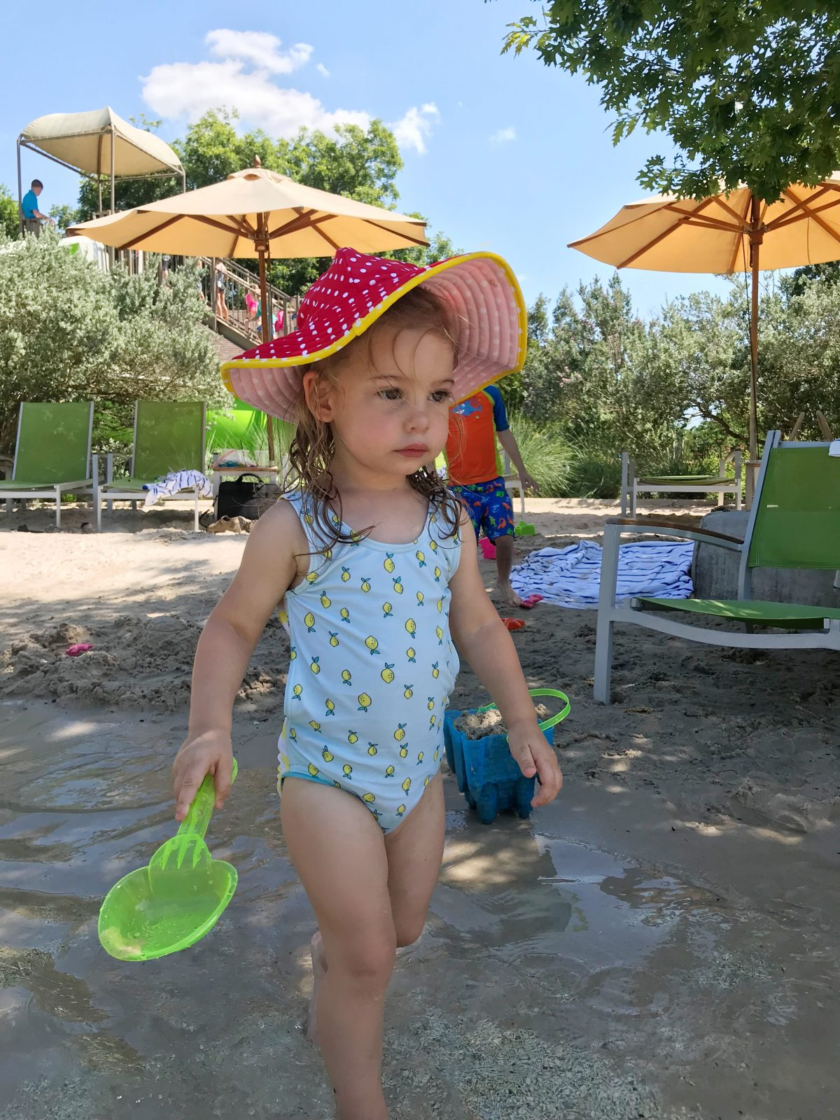 Hyatt Lost Pines - toddler lemon swimsuit