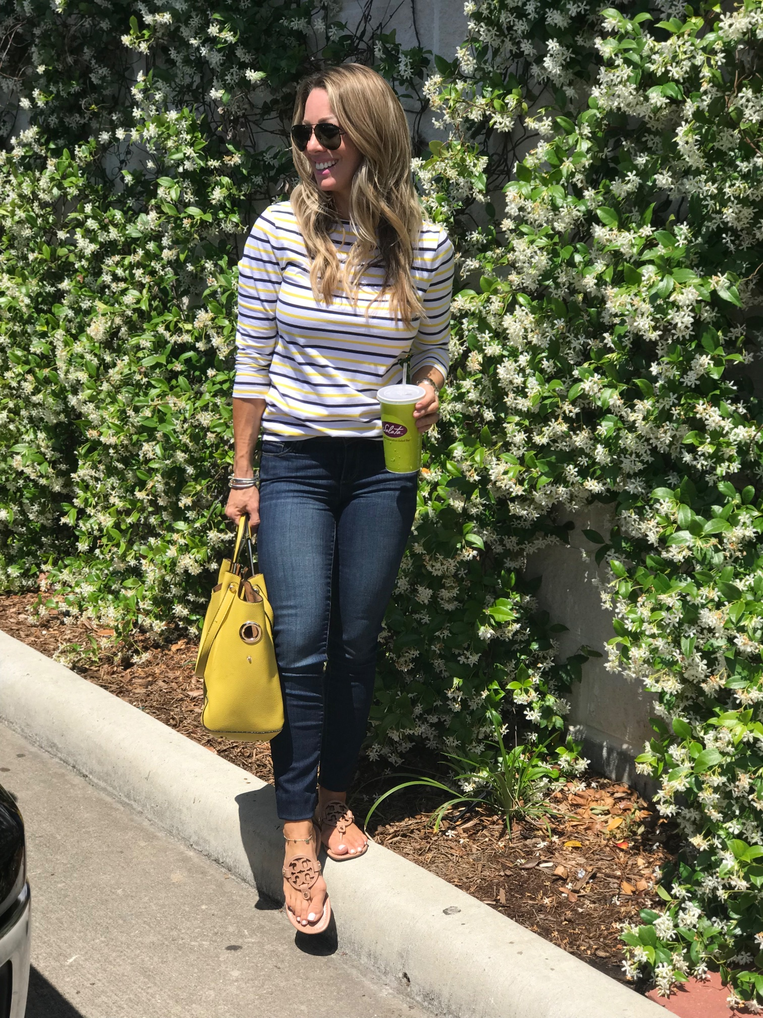 Skinny jeans with striped tee and tory burch miller sandals