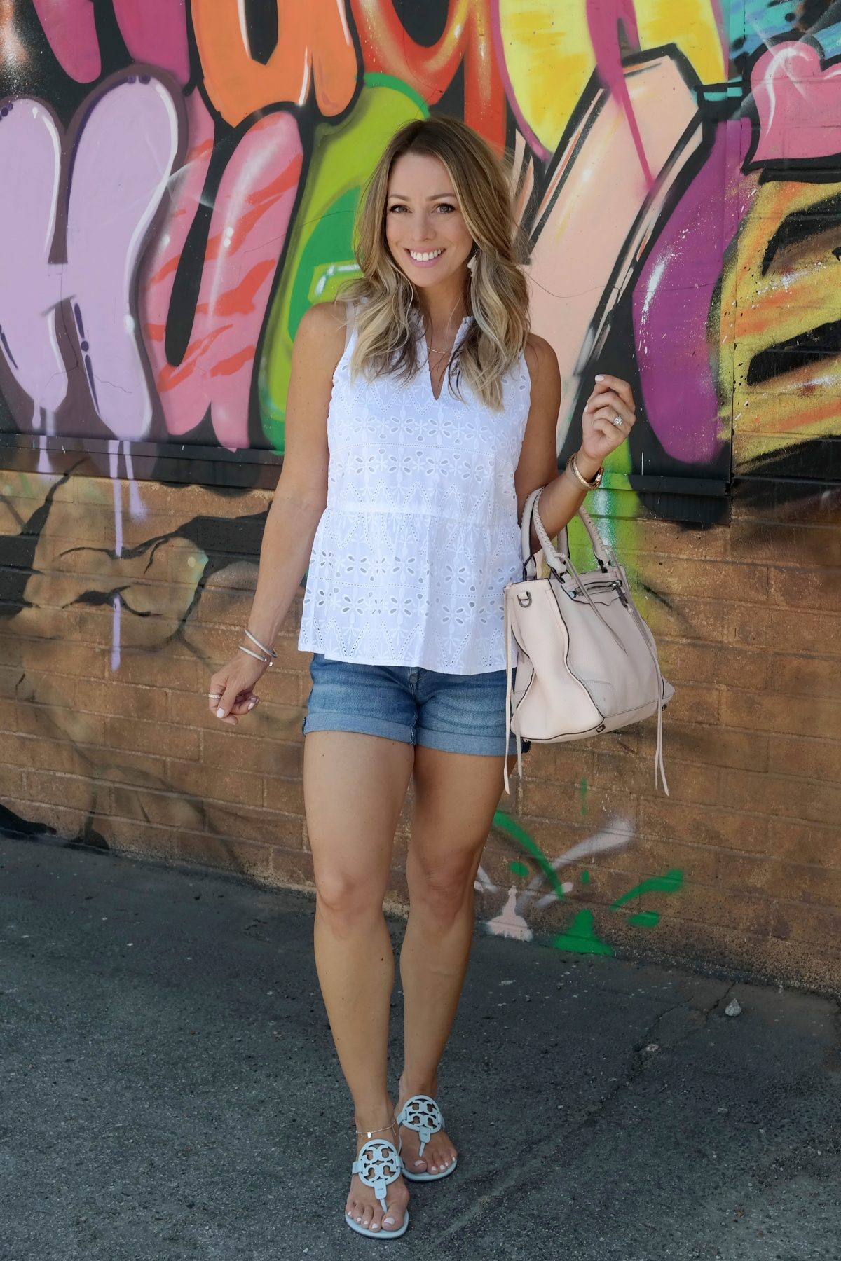 Spring & Summer outfit - Eyelet top and jean shorts with flat sandals