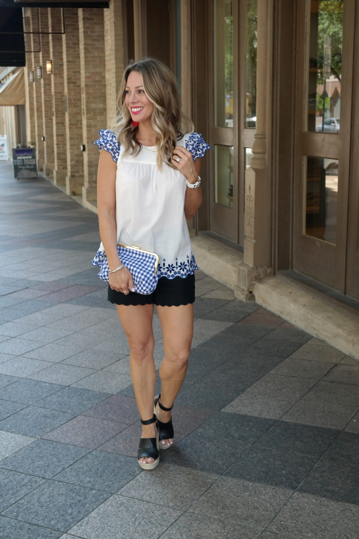 Spring & Summer outfit - Eyelet top scallop shorts and wedges