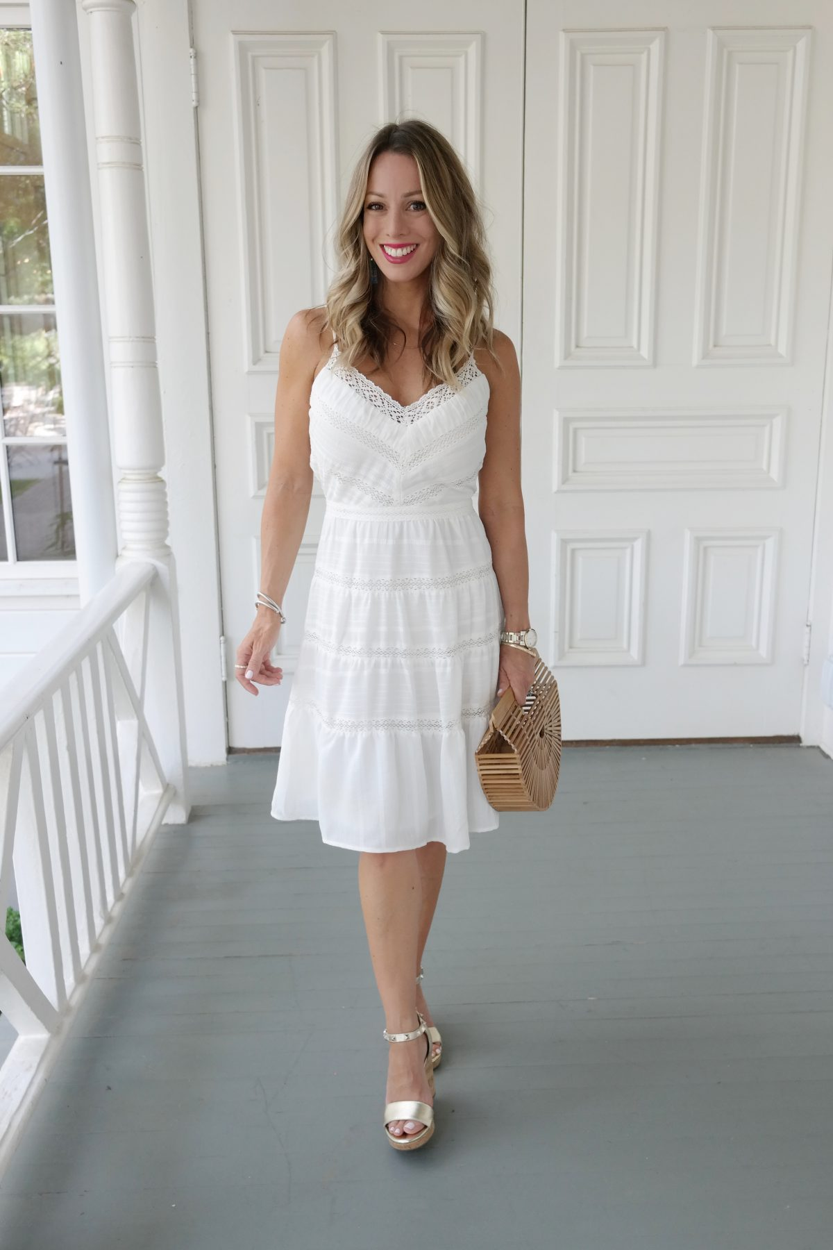 Spring and Summer outfit - white sundress and wedges